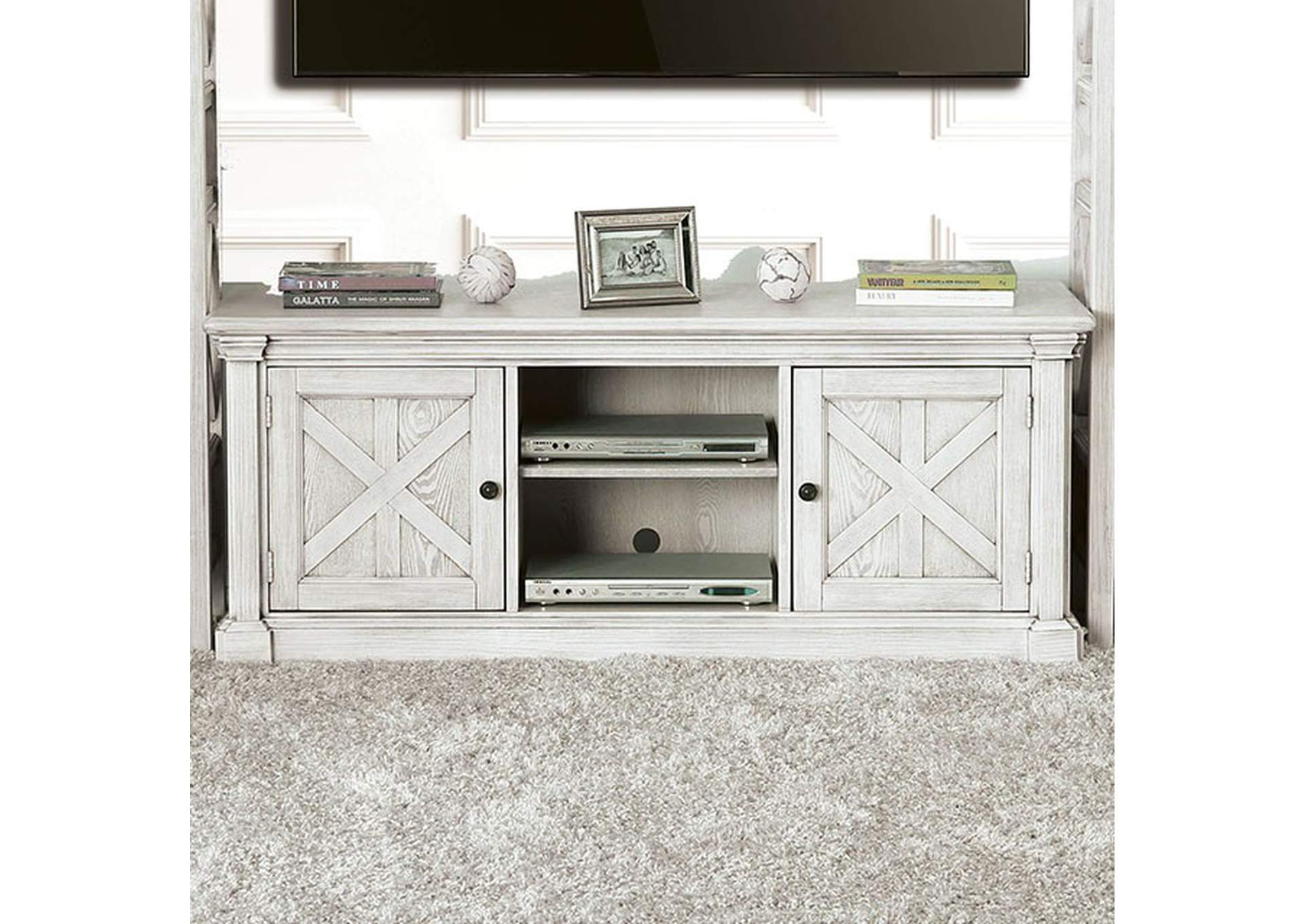 "Georgia Antique White 60"" Tv Stand,Furniture of America"