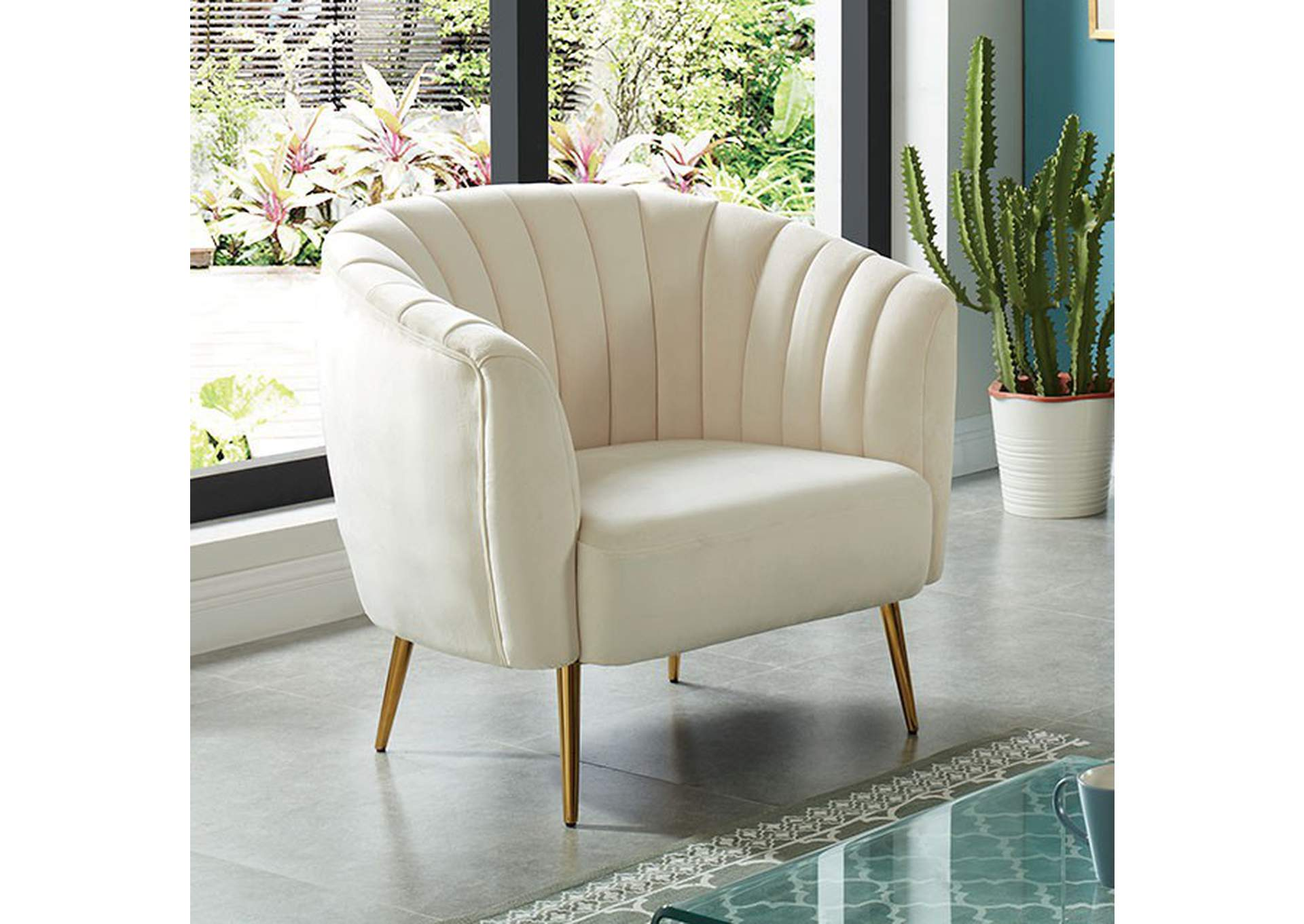 Dionne Ivory Chair,Furniture of America