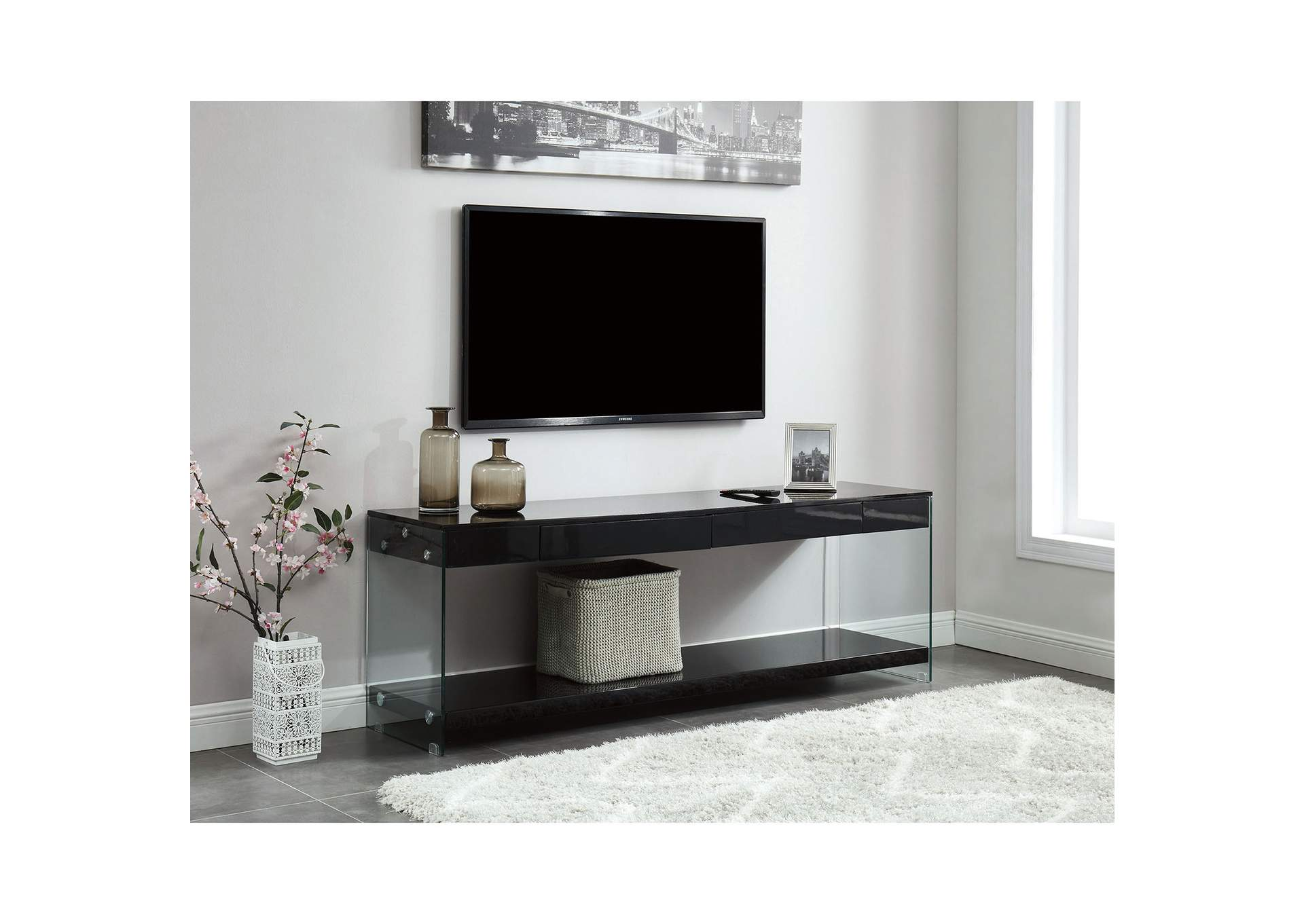 "Sabugal Black 70"" TV Stand,Furniture of America"
