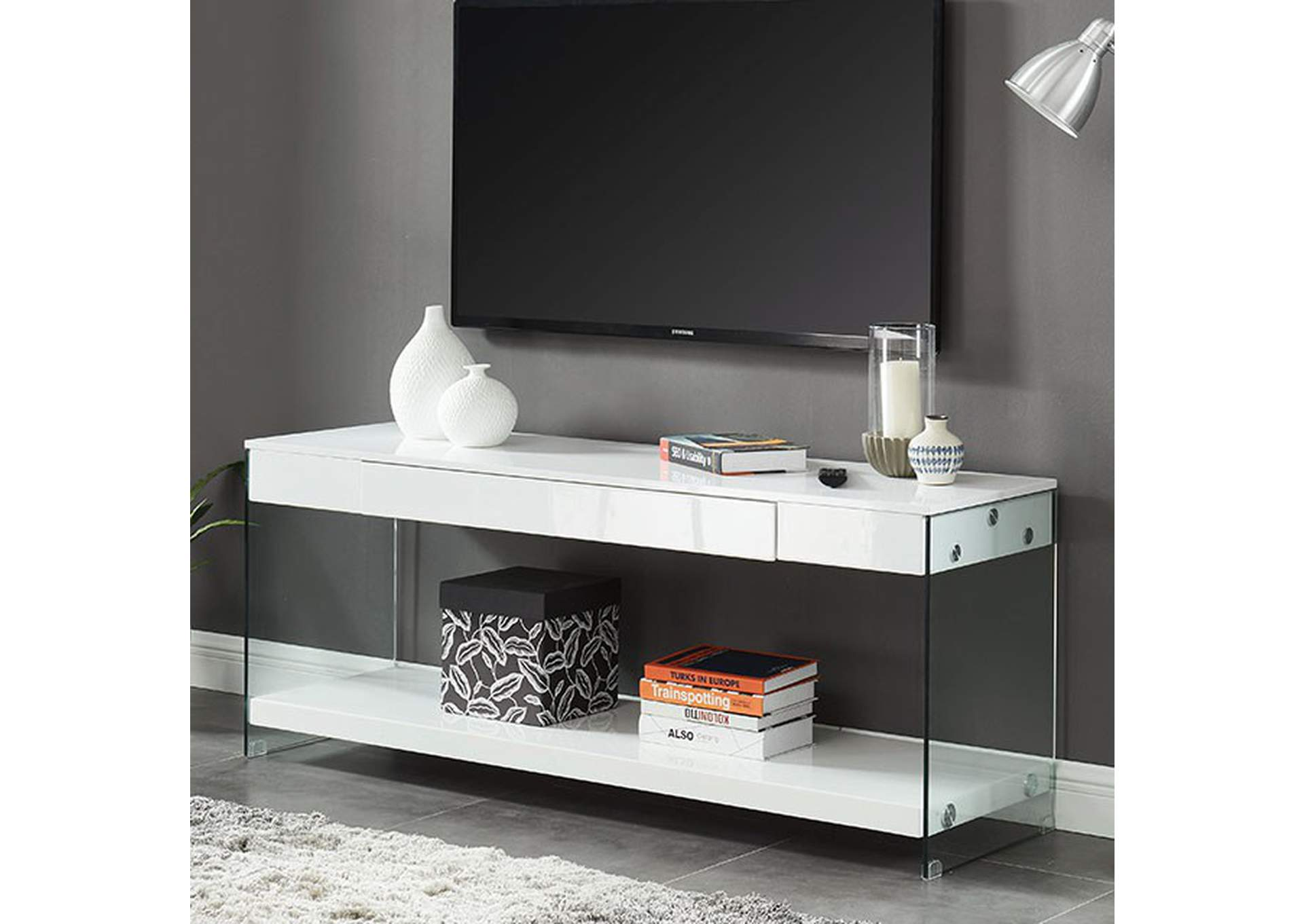 "Sabugal White 60"" TV Stand,Furniture of America"