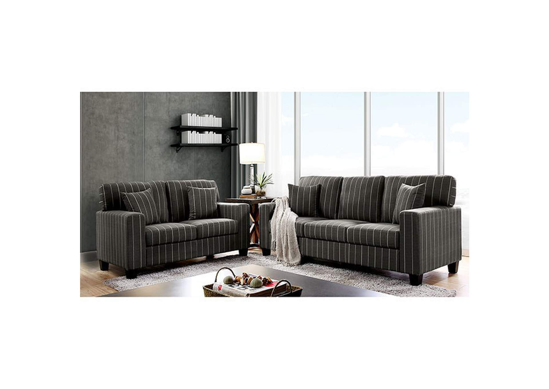 Pingree Dark Gray Loveseat,Furniture of America