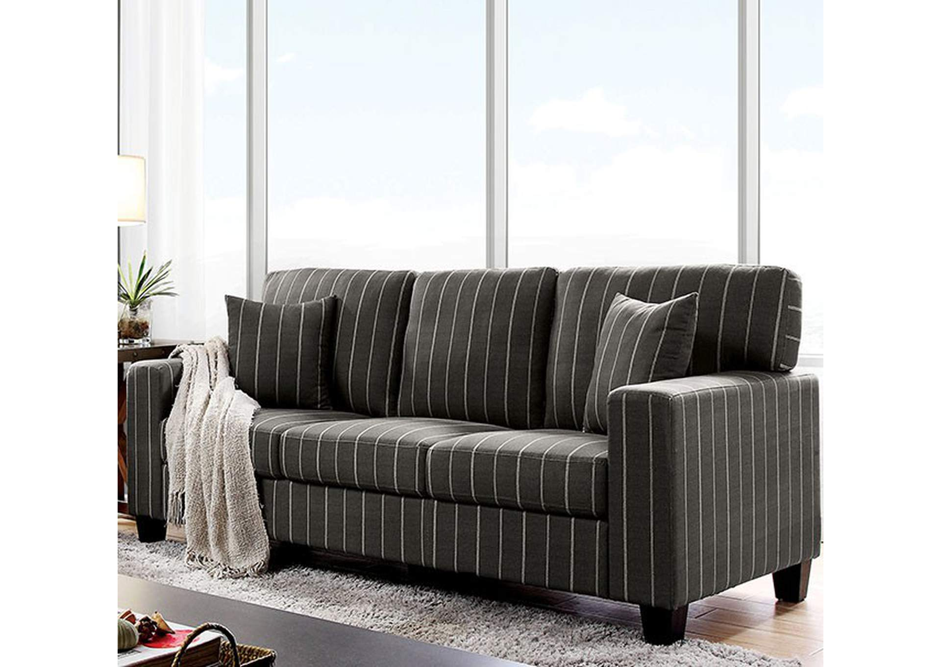Pingree Dark Gray Sofa,Furniture of America