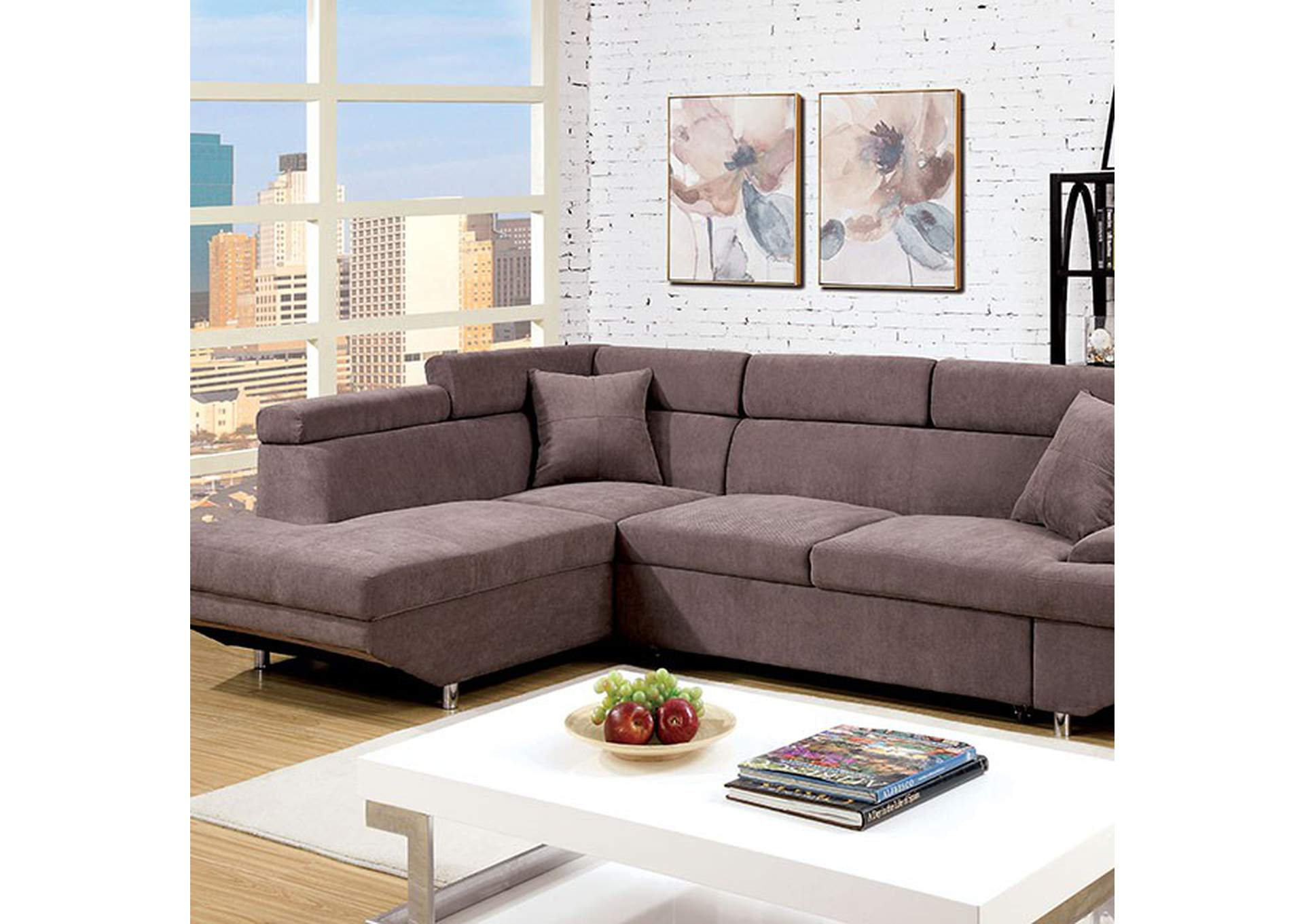 Foreman Brown Sectional,Furniture of America