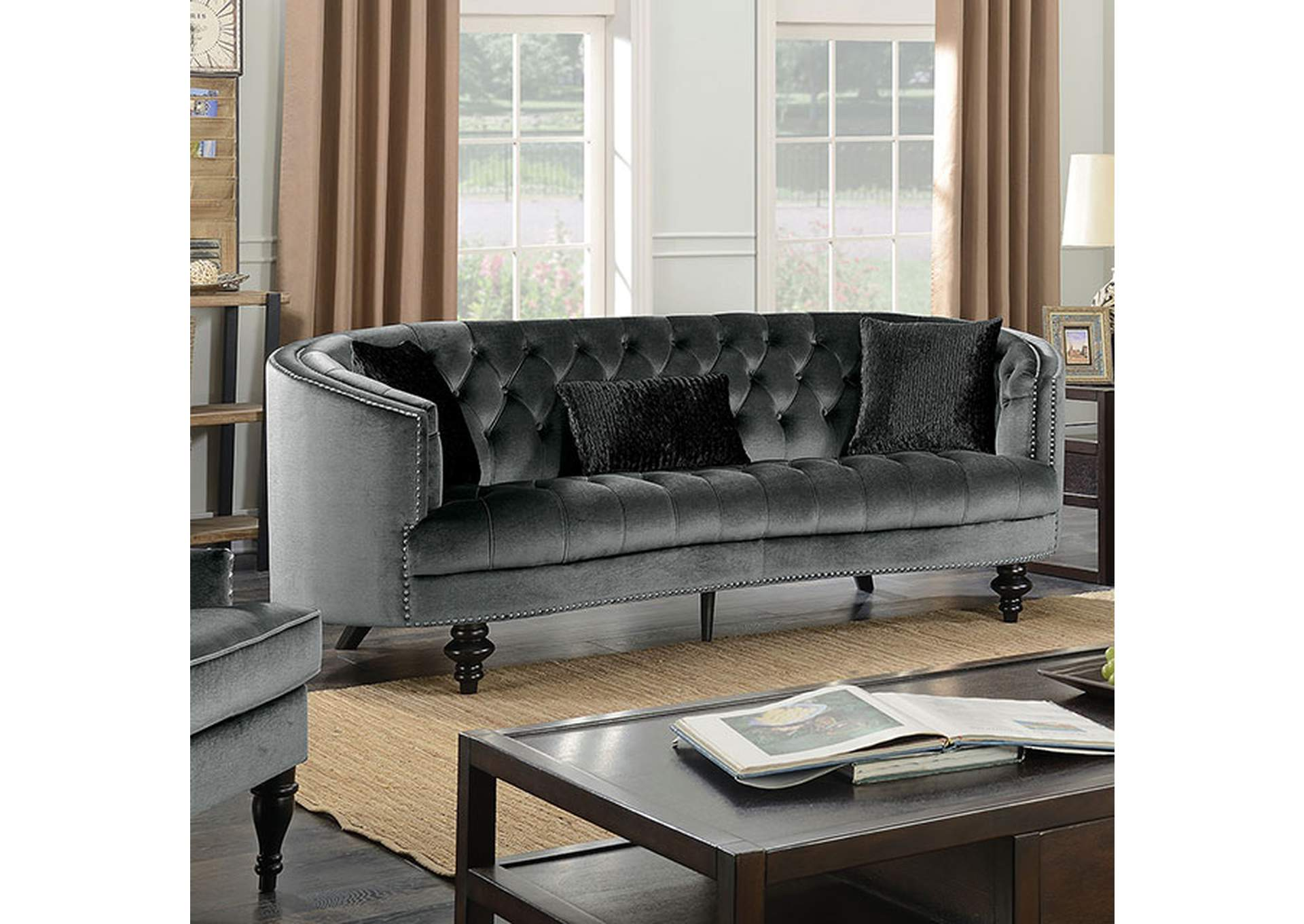 Manuela Gray Sofa,Furniture of America