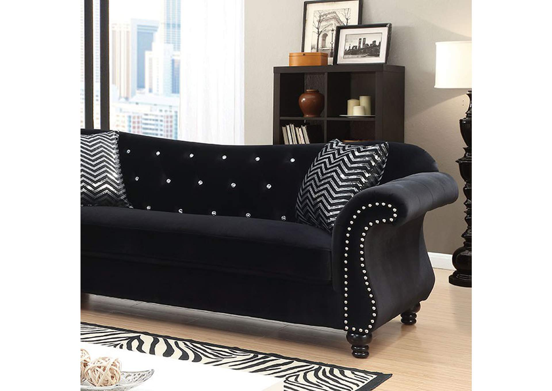 Jolanda I Black Sofa,Furniture of America