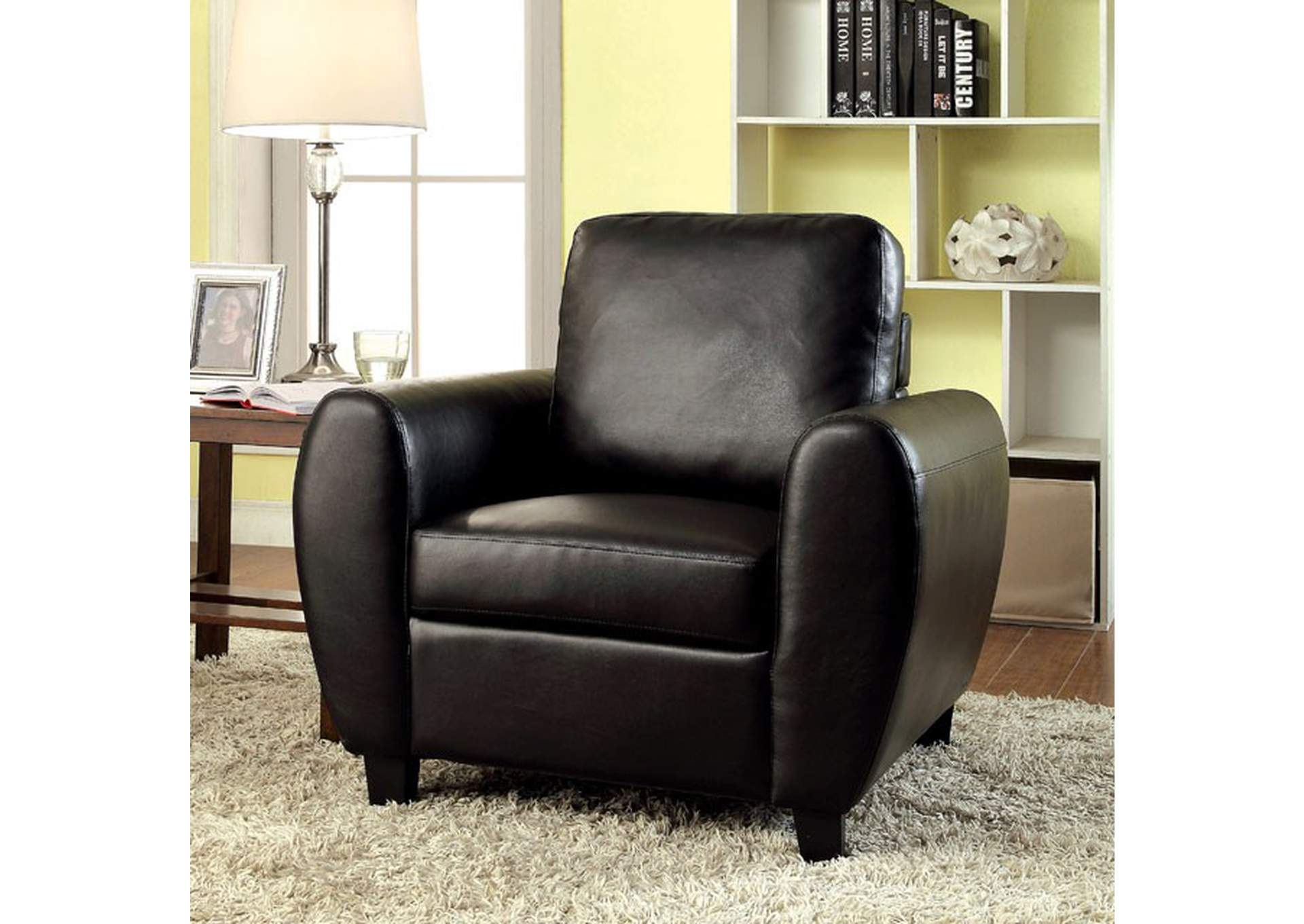 Hatton Black Leatherette Chair,Furniture of America