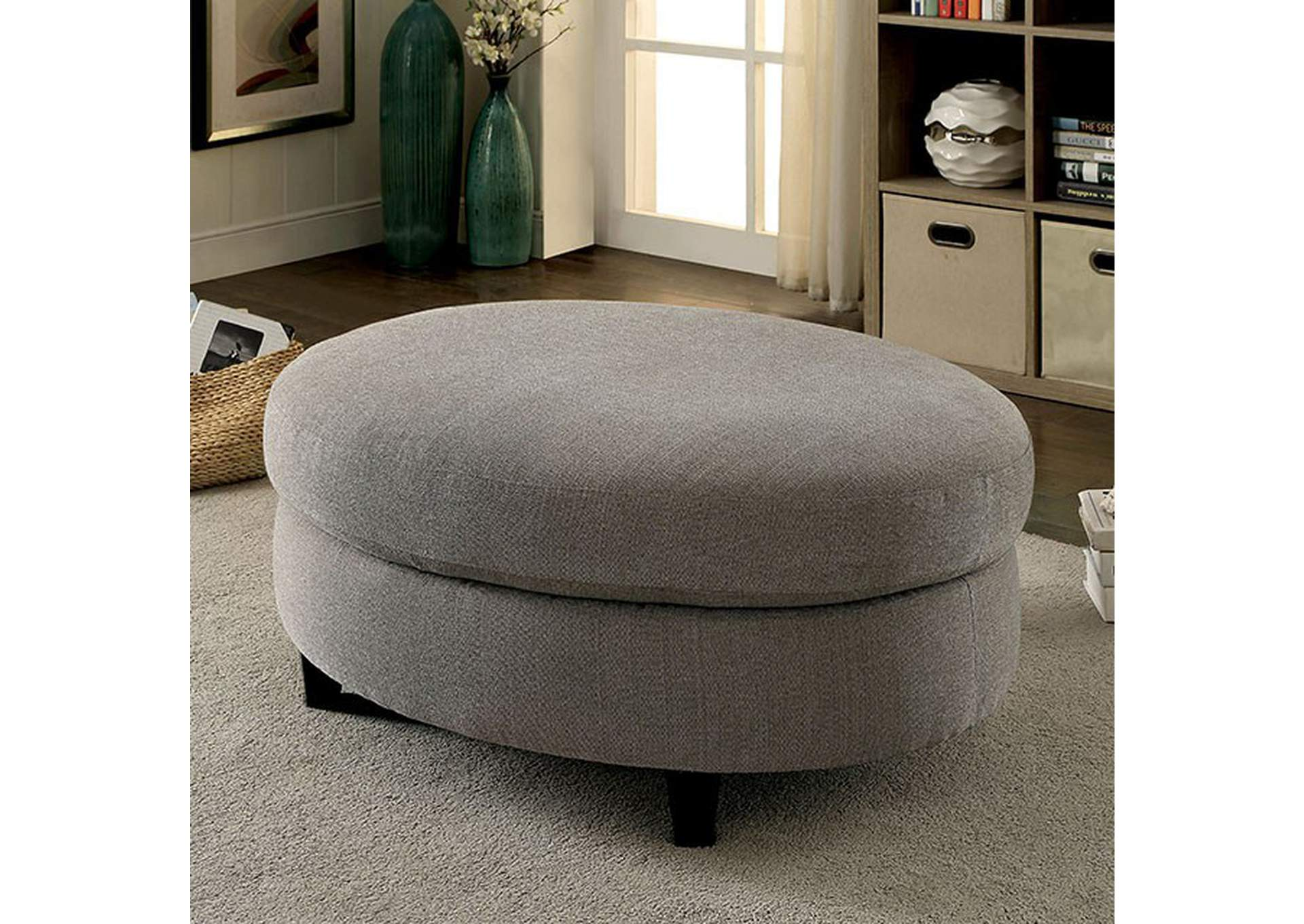 Sarin Warm Gray Ottoman,Furniture of America