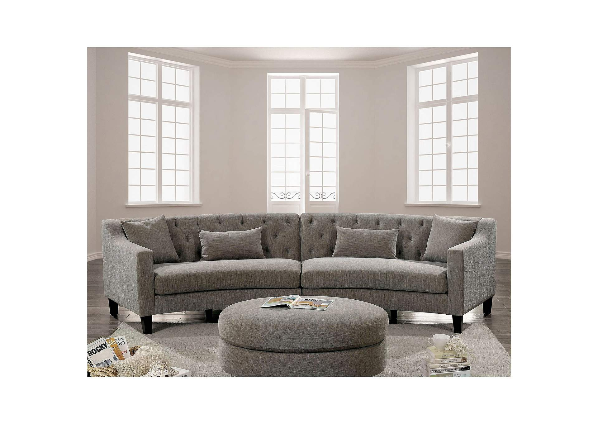 Sarin Warm Gray Sectional,Furniture of America