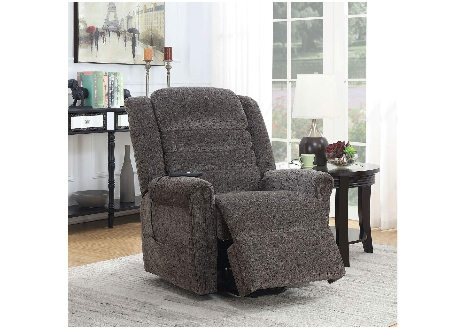 Ovar Brown Chenille Power Recliner,Furniture of America