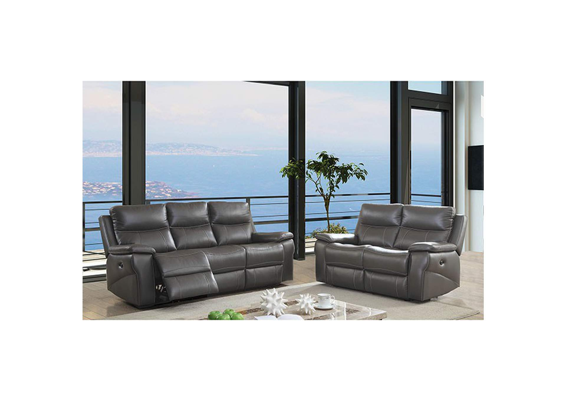 Lila Gray Power-Assist Sofa,Furniture of America