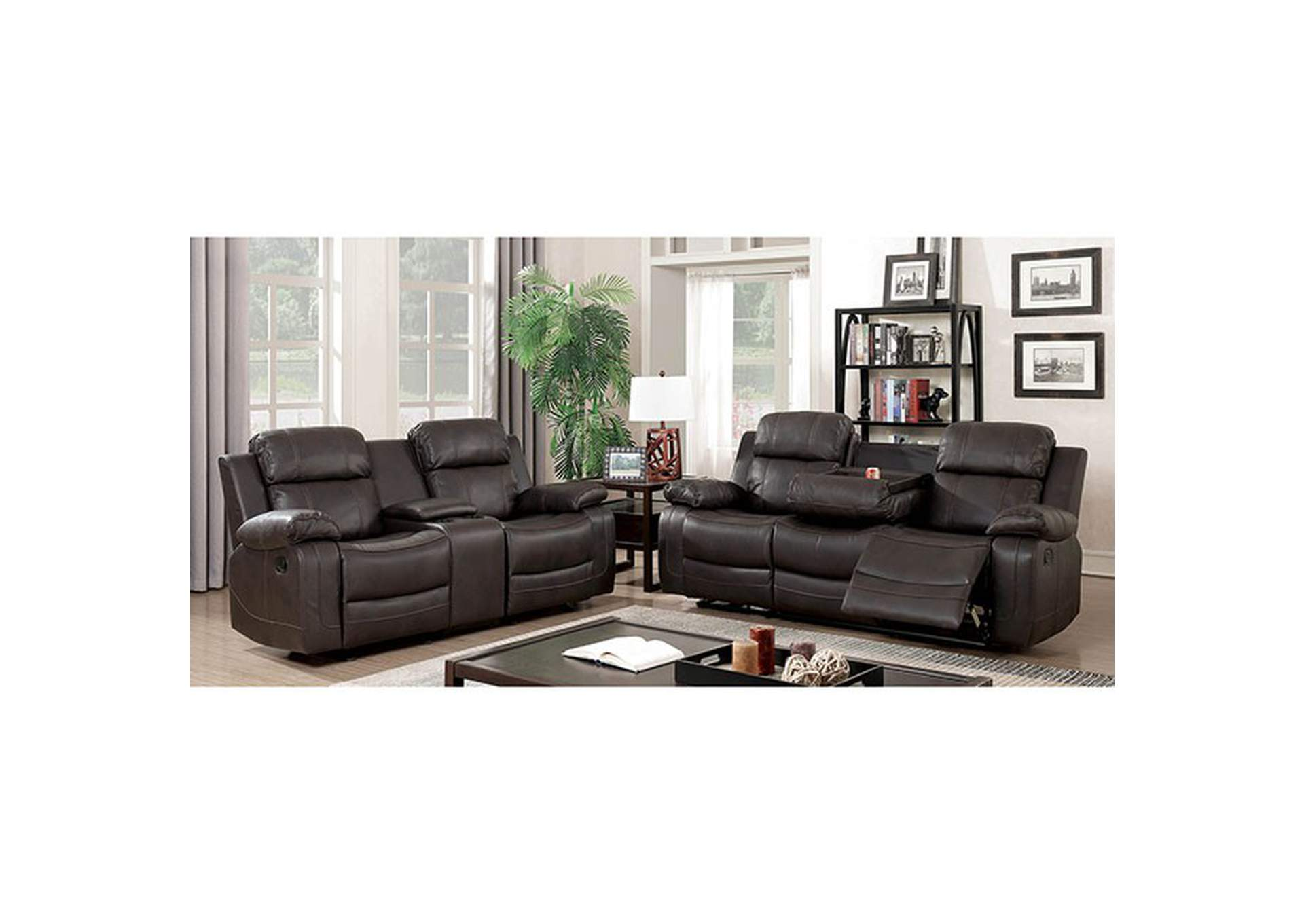 Pondera Dark Brown Sofa,Furniture of America