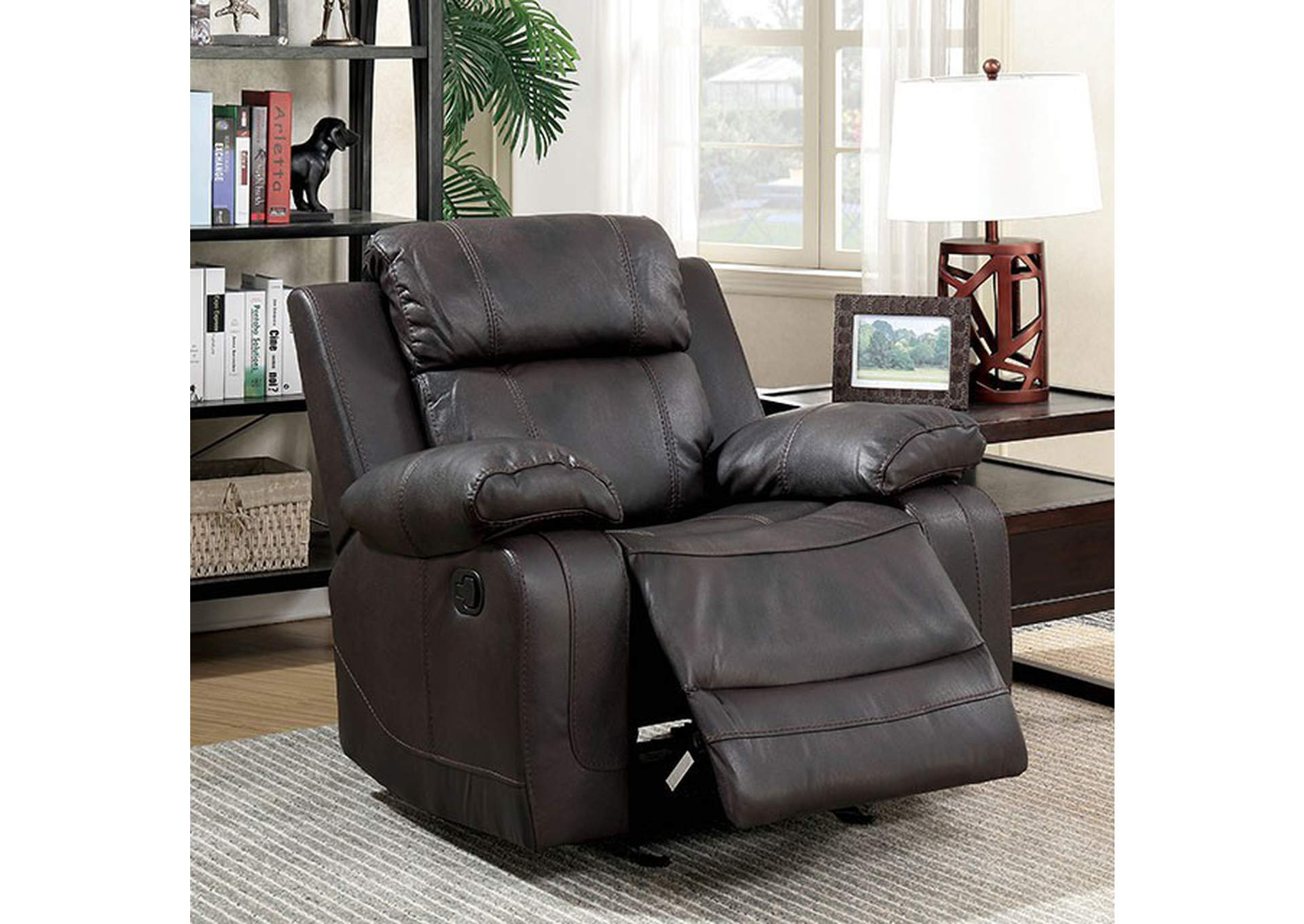 Pondera Dark Brown Recliner,Furniture of America