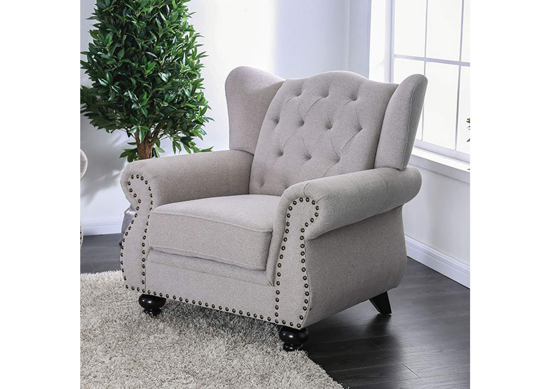 Ewloe Light Gray Chair,Furniture of America