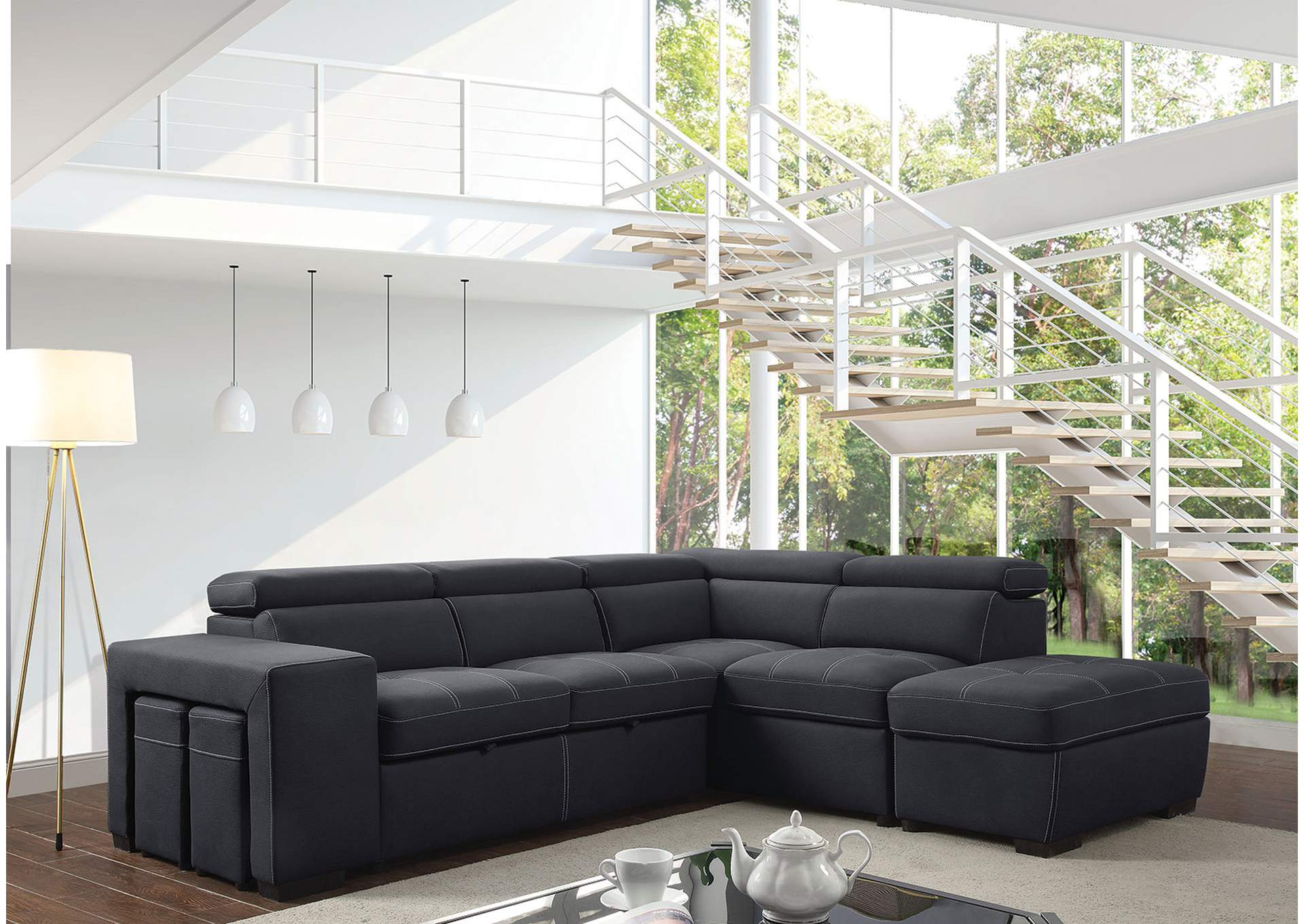 Athene Graphite Sectional,Furniture of America