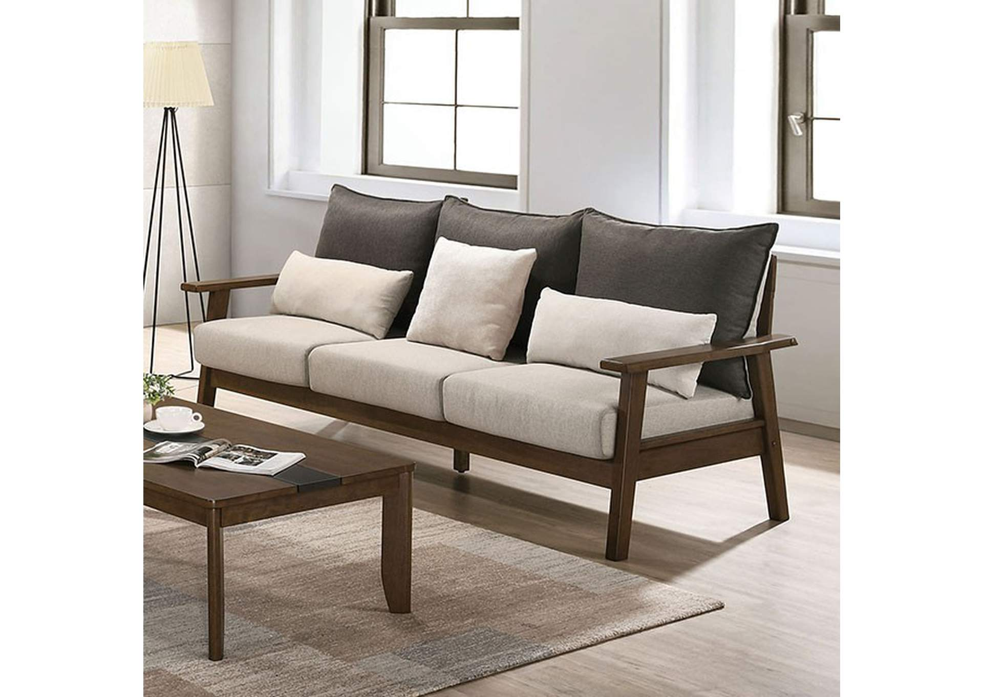 Louis Light Walnut Sofa,Furniture of America