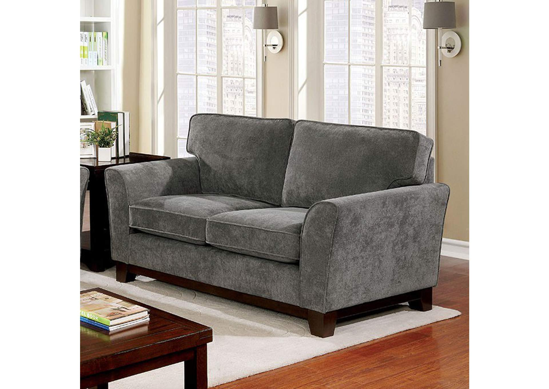 Caldicot Gray Loveseat,Furniture of America