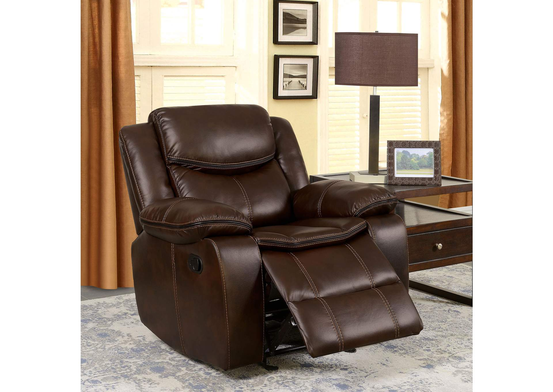 Pollux Brown Recliner,Furniture of America