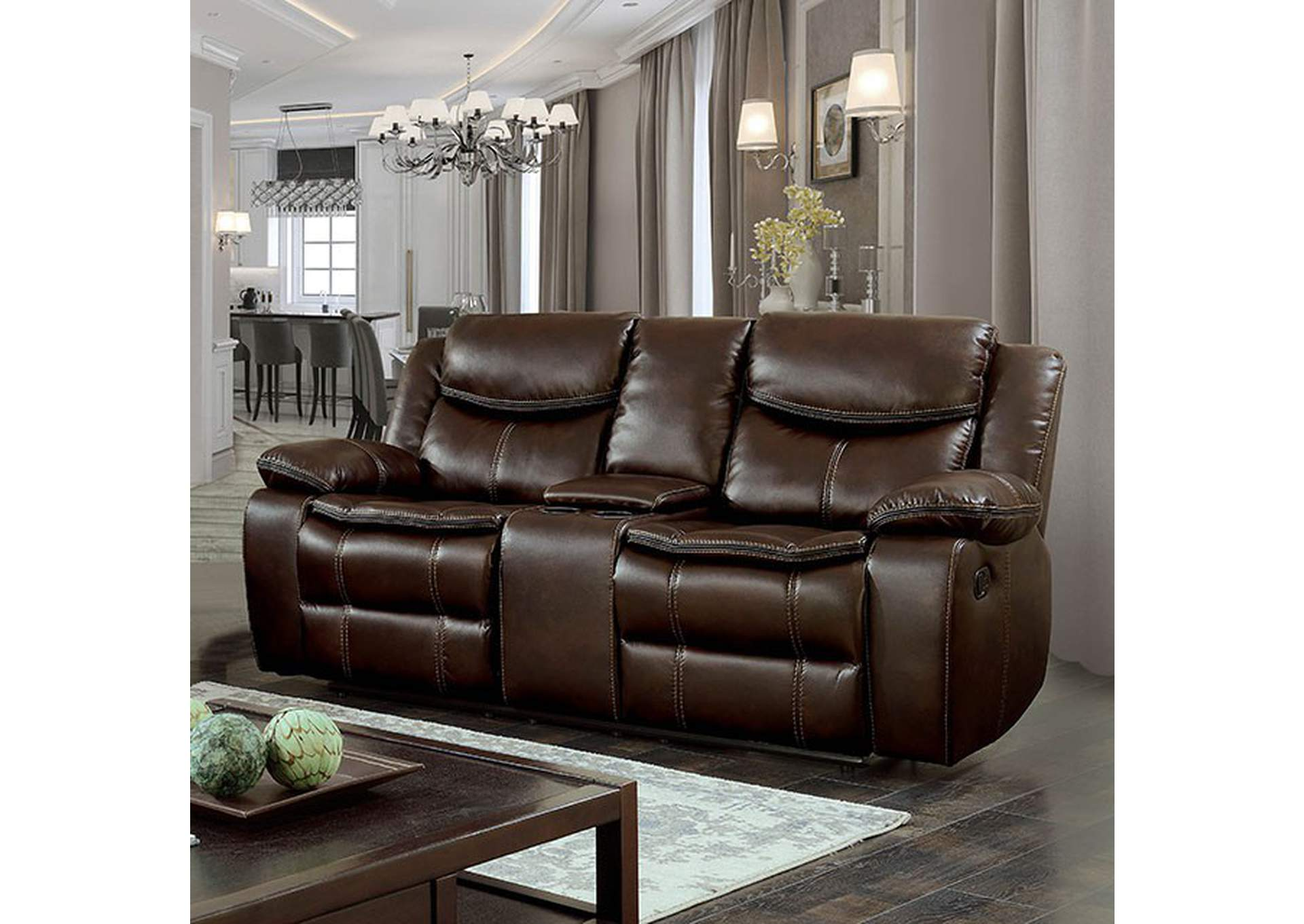 Pollu Brown Leather Reclining Loveseat,Furniture of America