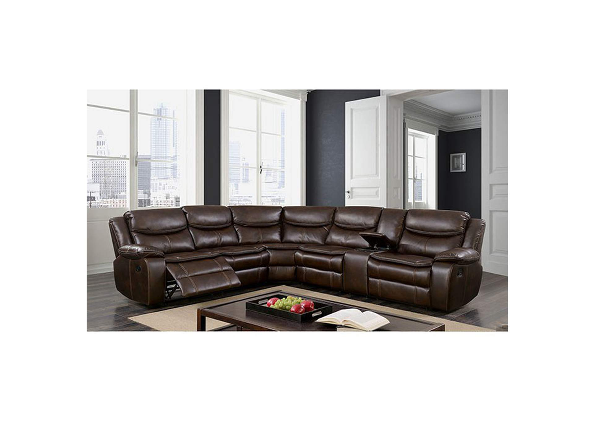 Pollux Brown Sectional,Furniture of America