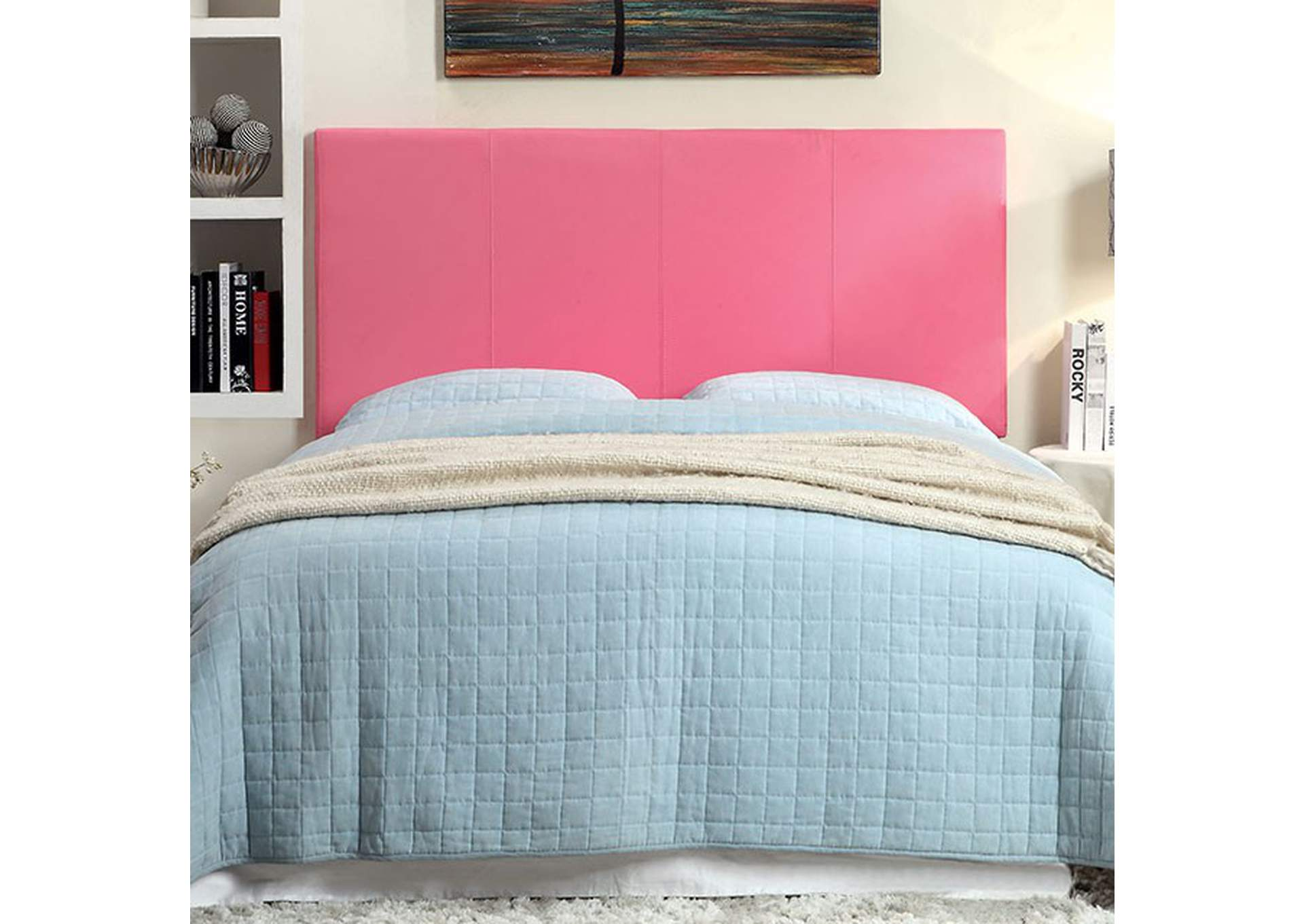 Winn Park ll Pink Leatherette Queen Headboard,Furniture of America