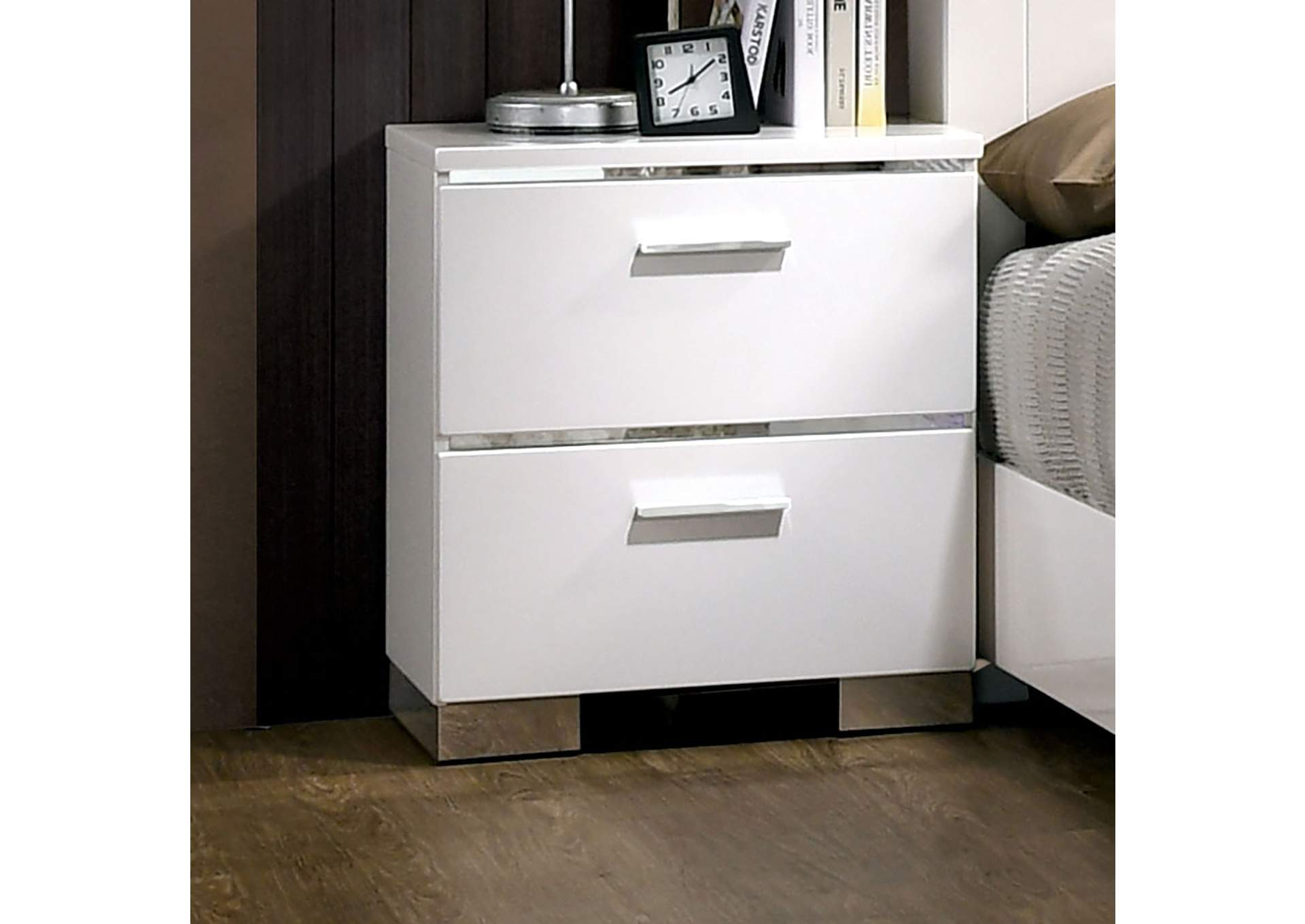 Carlie White Night Stand,Furniture of America