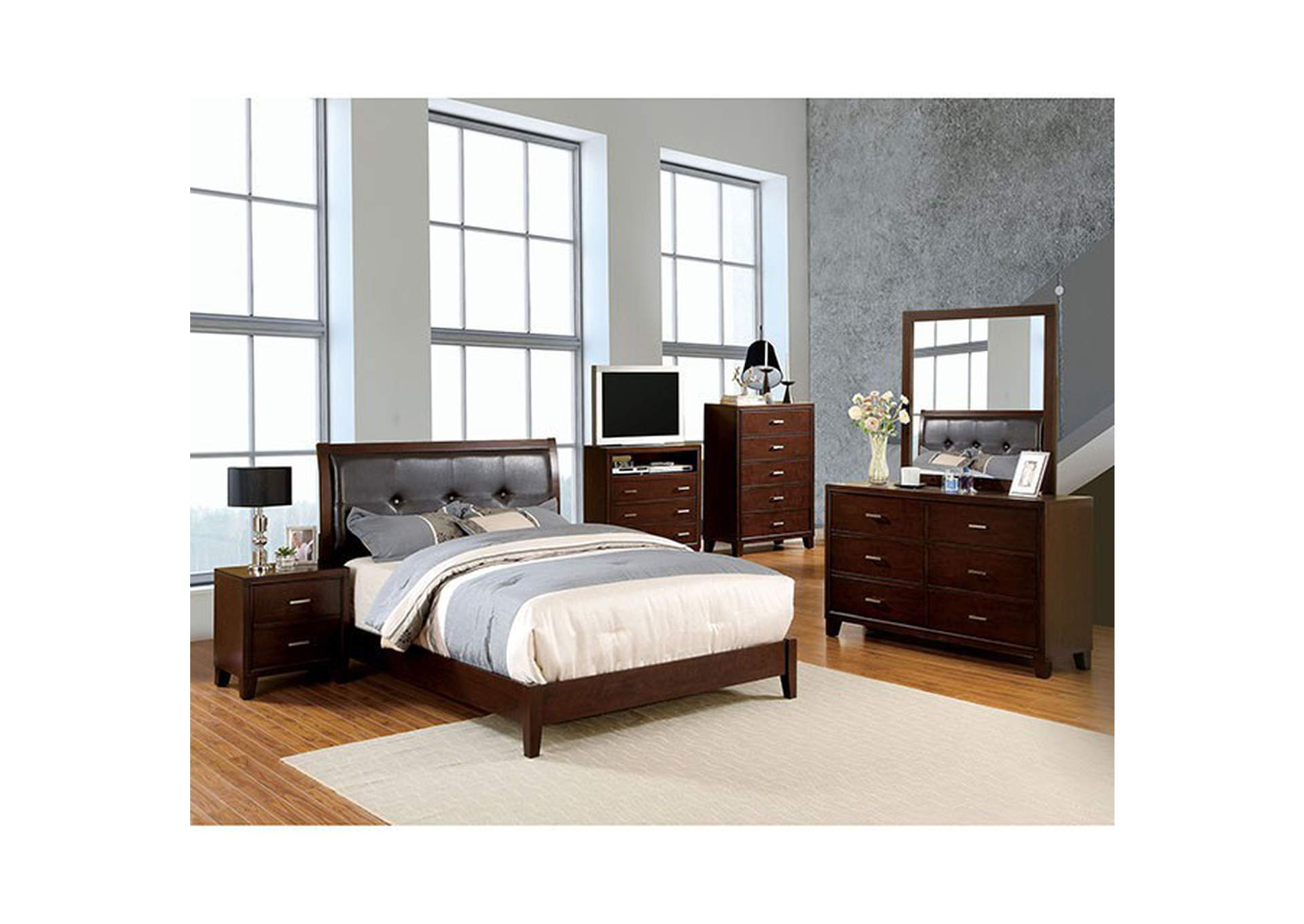 Enrico I Brown Queen Platform Bed,Furniture of America