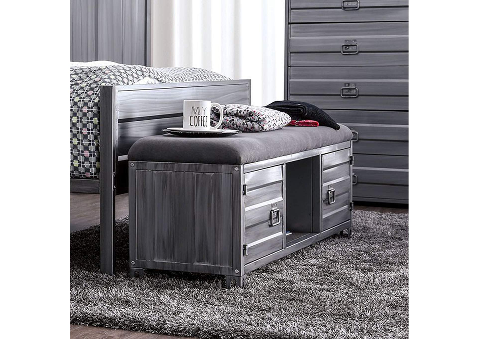 Mccredmond Hand Brushed Silver Bench,Furniture of America