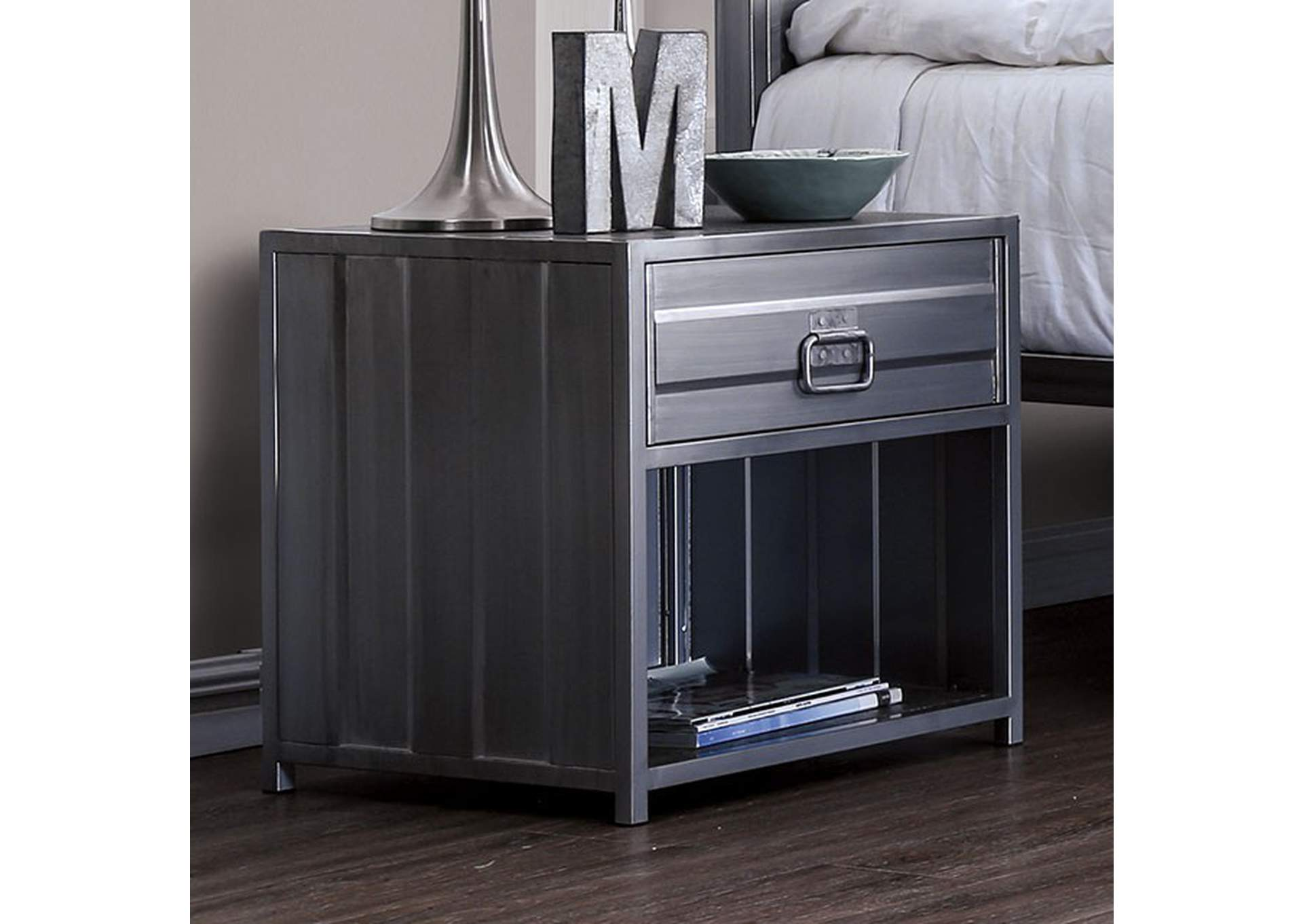 Mccredmond Hand Brushed Silver Night Stand,Furniture of America