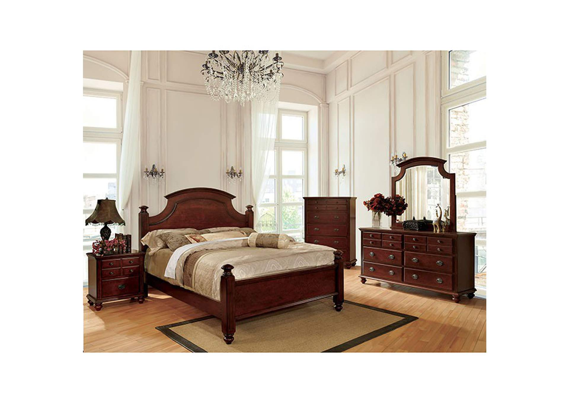 Gabrielle II Cherry Queen Poster Bed,Furniture of America