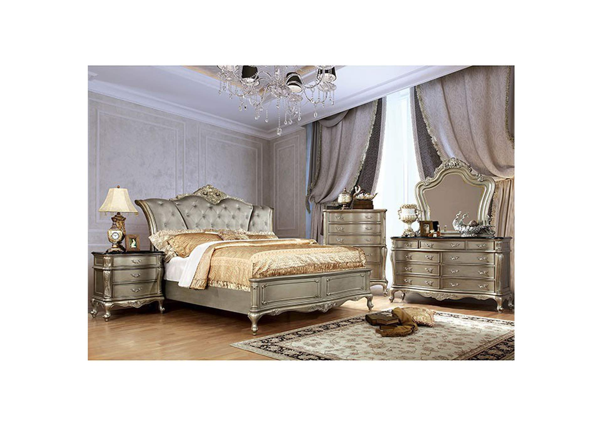 Johara Gold Upholstered/Platform Queen Bed,Furniture of America
