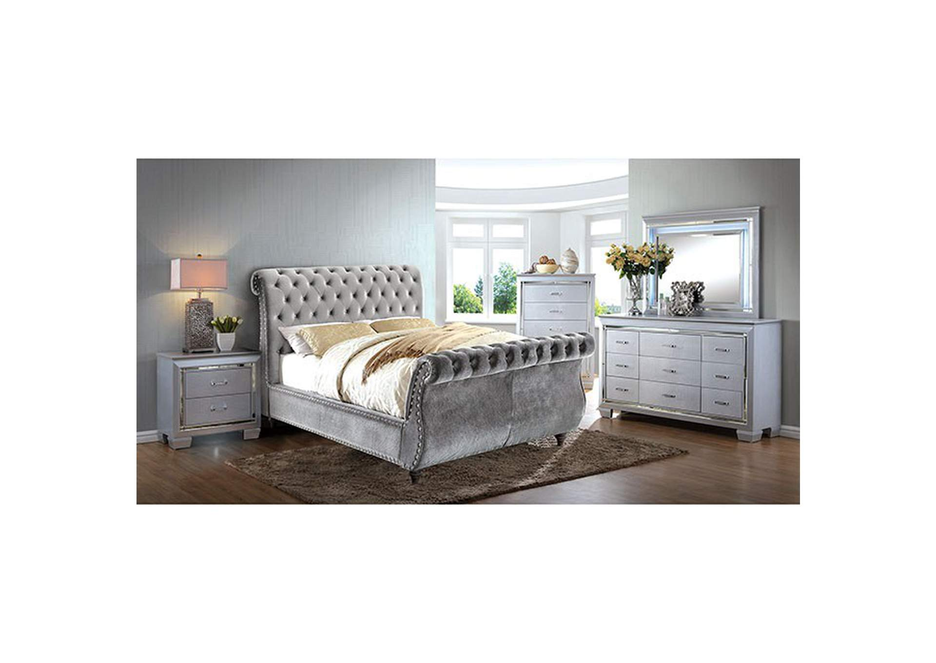 Noella Gray Upholstered Queen Sleigh Bed,Furniture of America