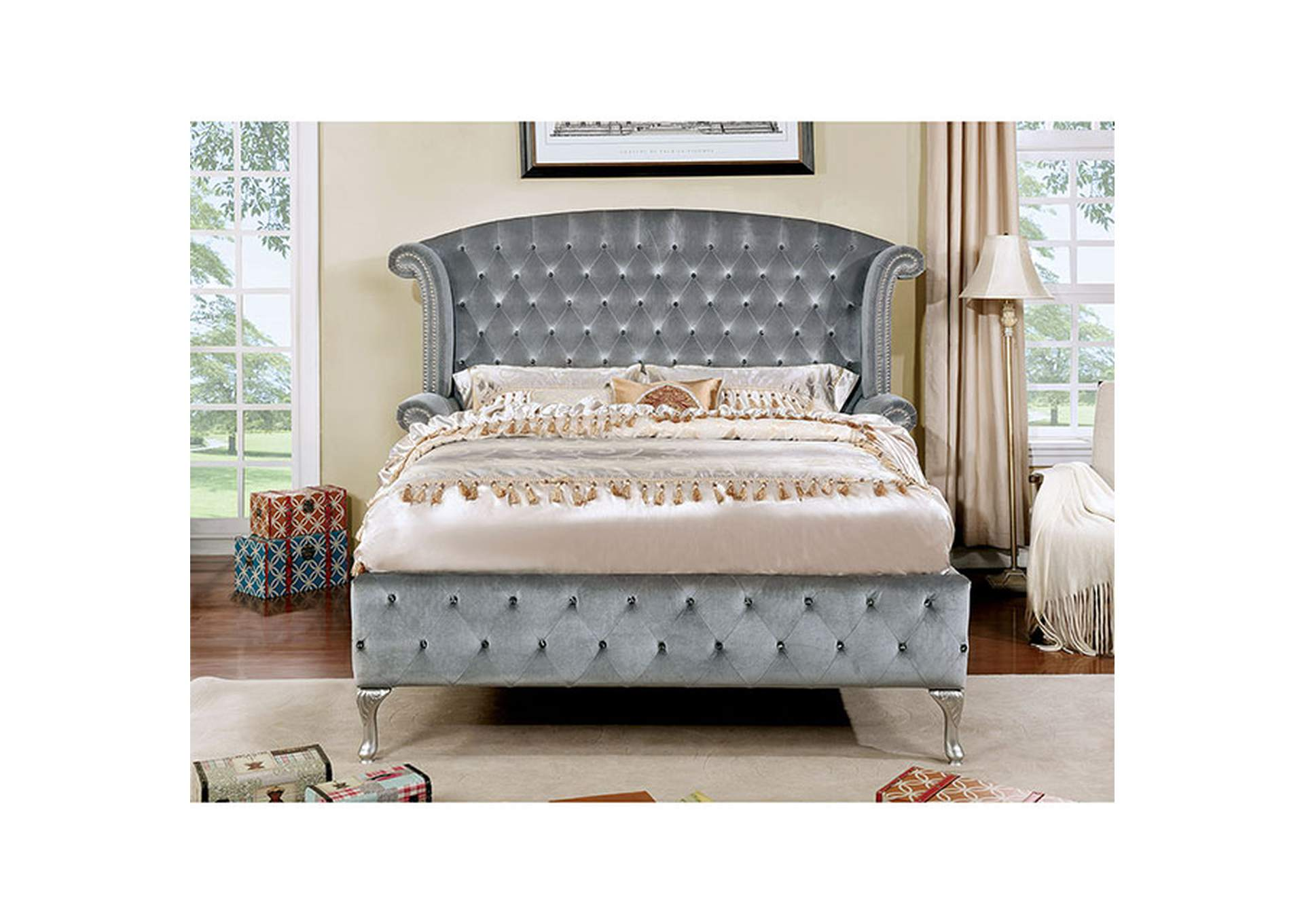 Alzir Gray Upholstered Queen Bed,Furniture of America