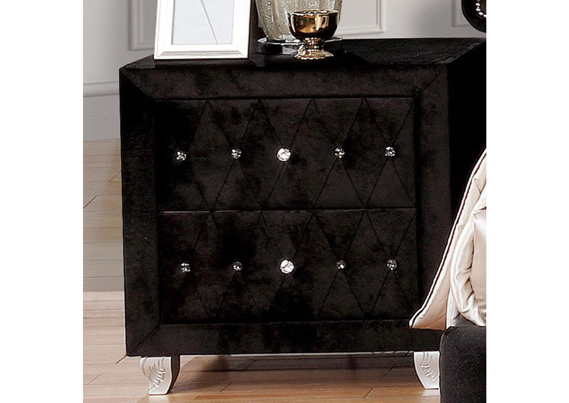 Alzire Black Night Stand,Furniture of America