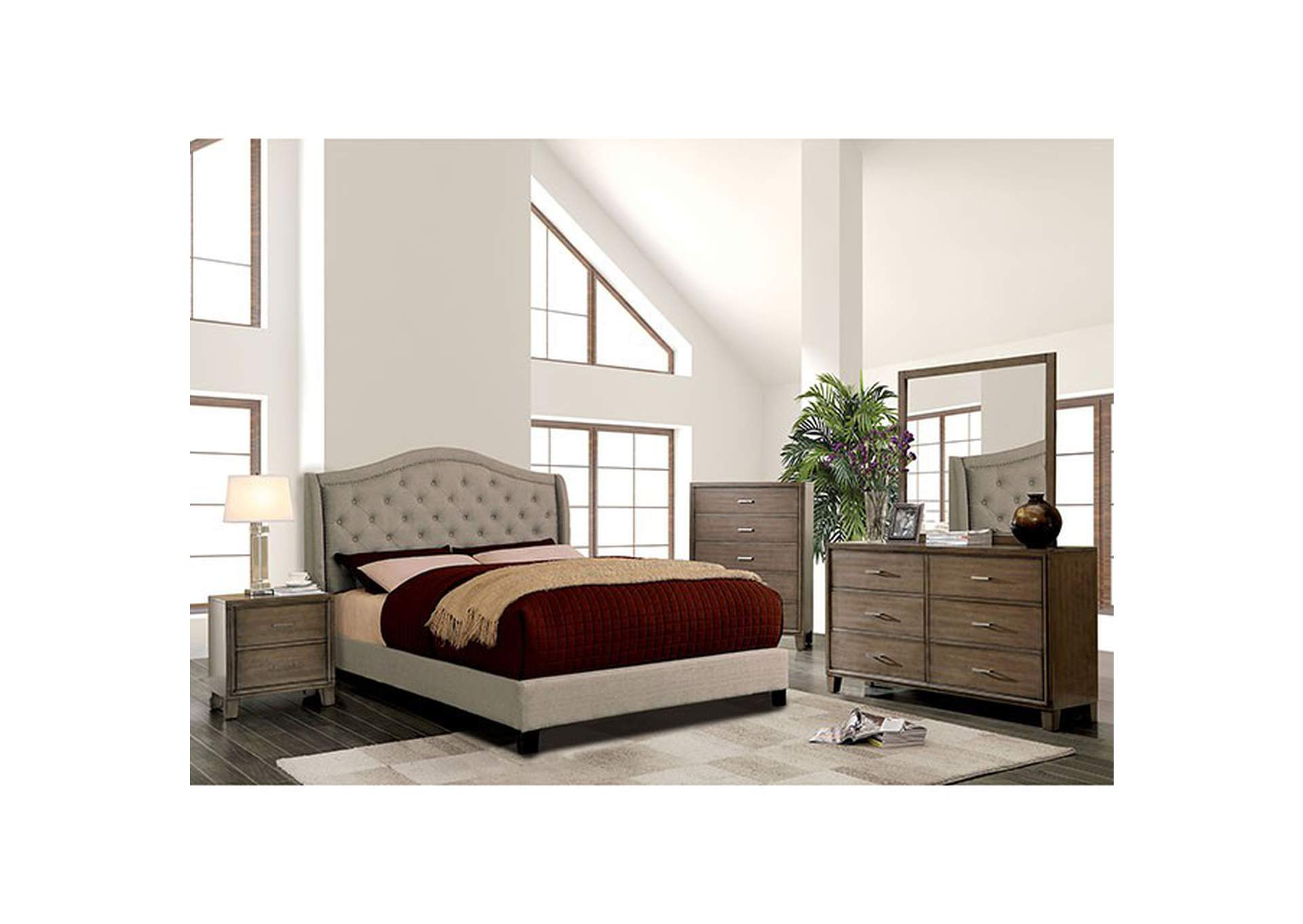 Carly Warm Gray Upholstered Queen Platform Bed,Furniture of America
