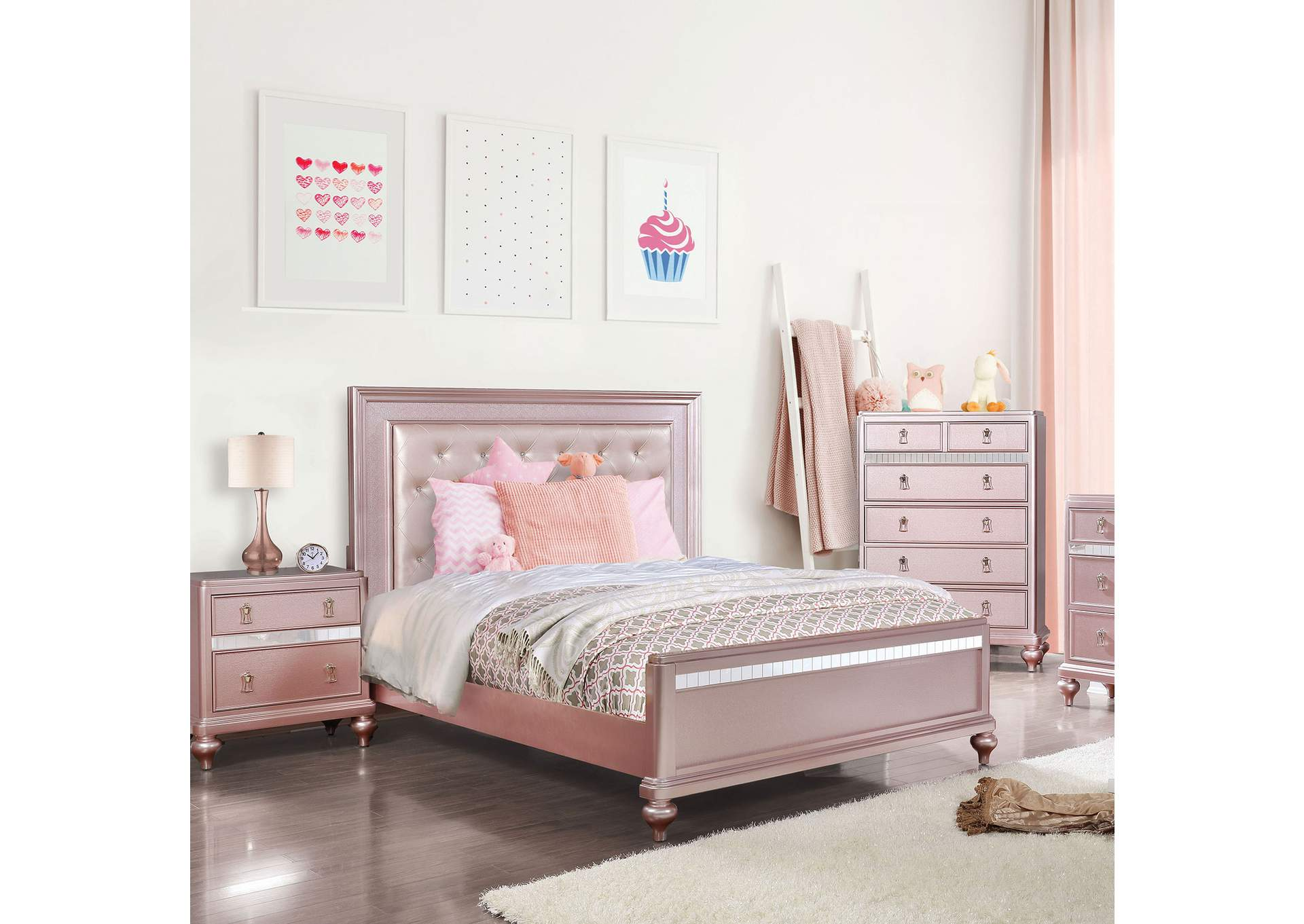 Avior Rose Gold Queen Bed,Furniture of America