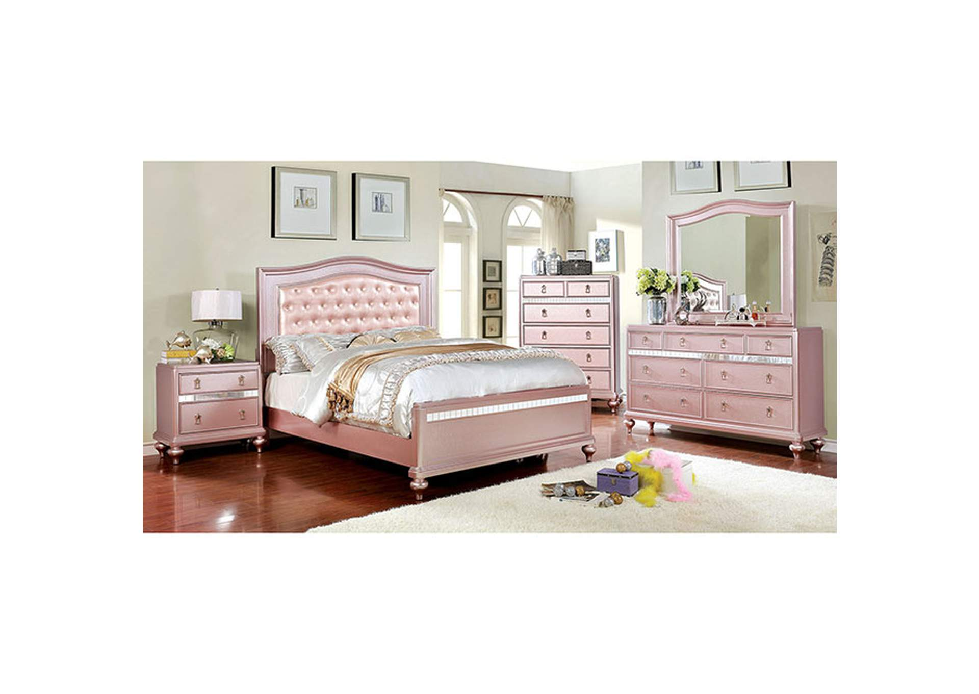 Ariston Rose Gold Queen Bed,Furniture of America