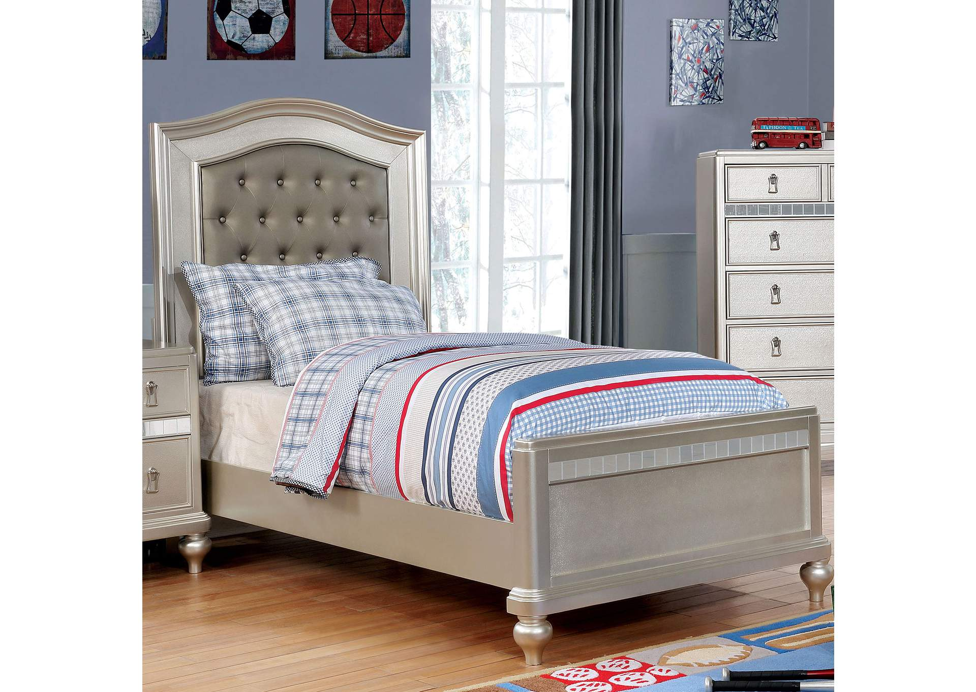 Ariston Silver Upholstered Full Bed,Furniture of America
