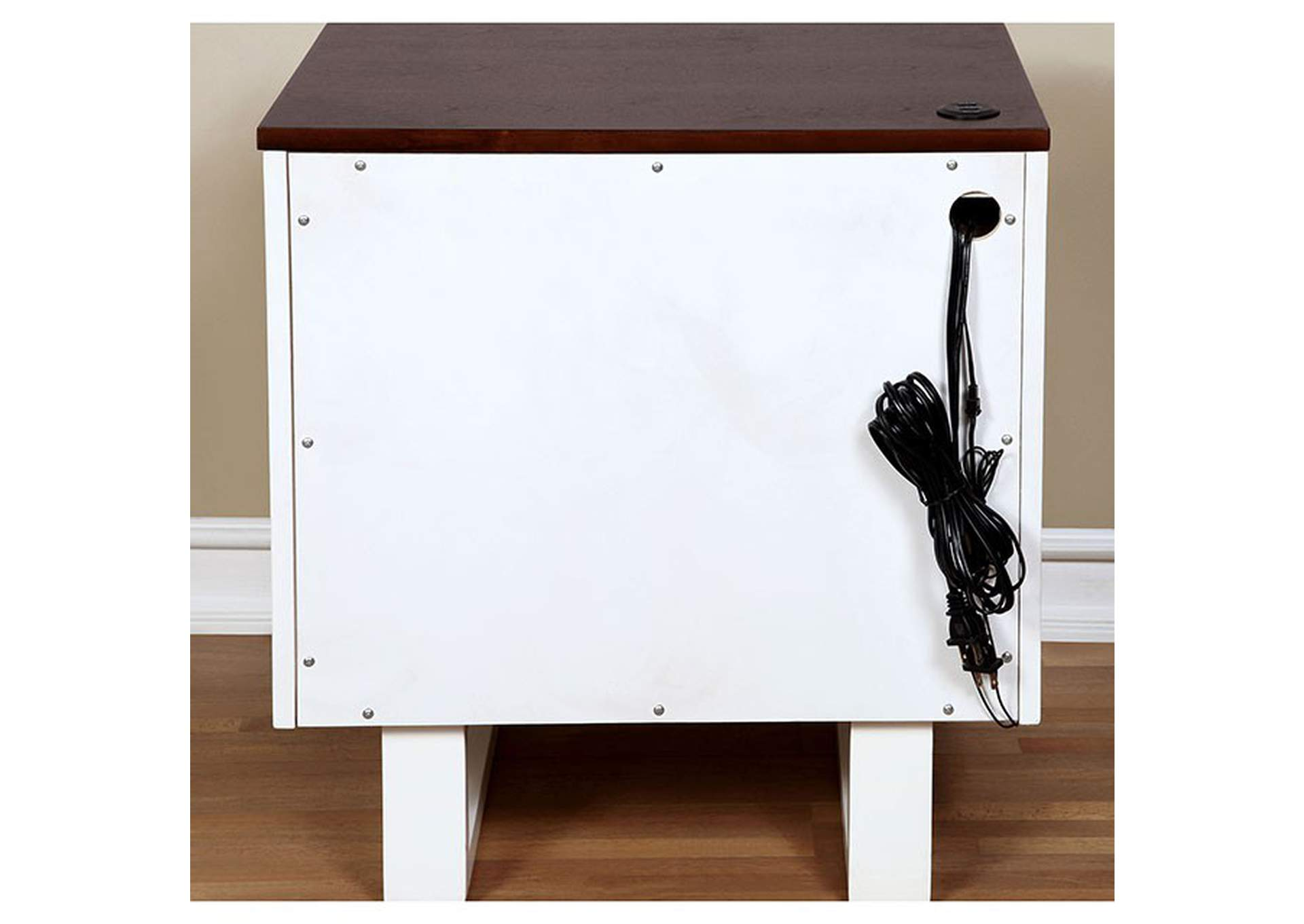 Meredith Dark Walnut/White Nightstand w/USB Outlet,Furniture of America