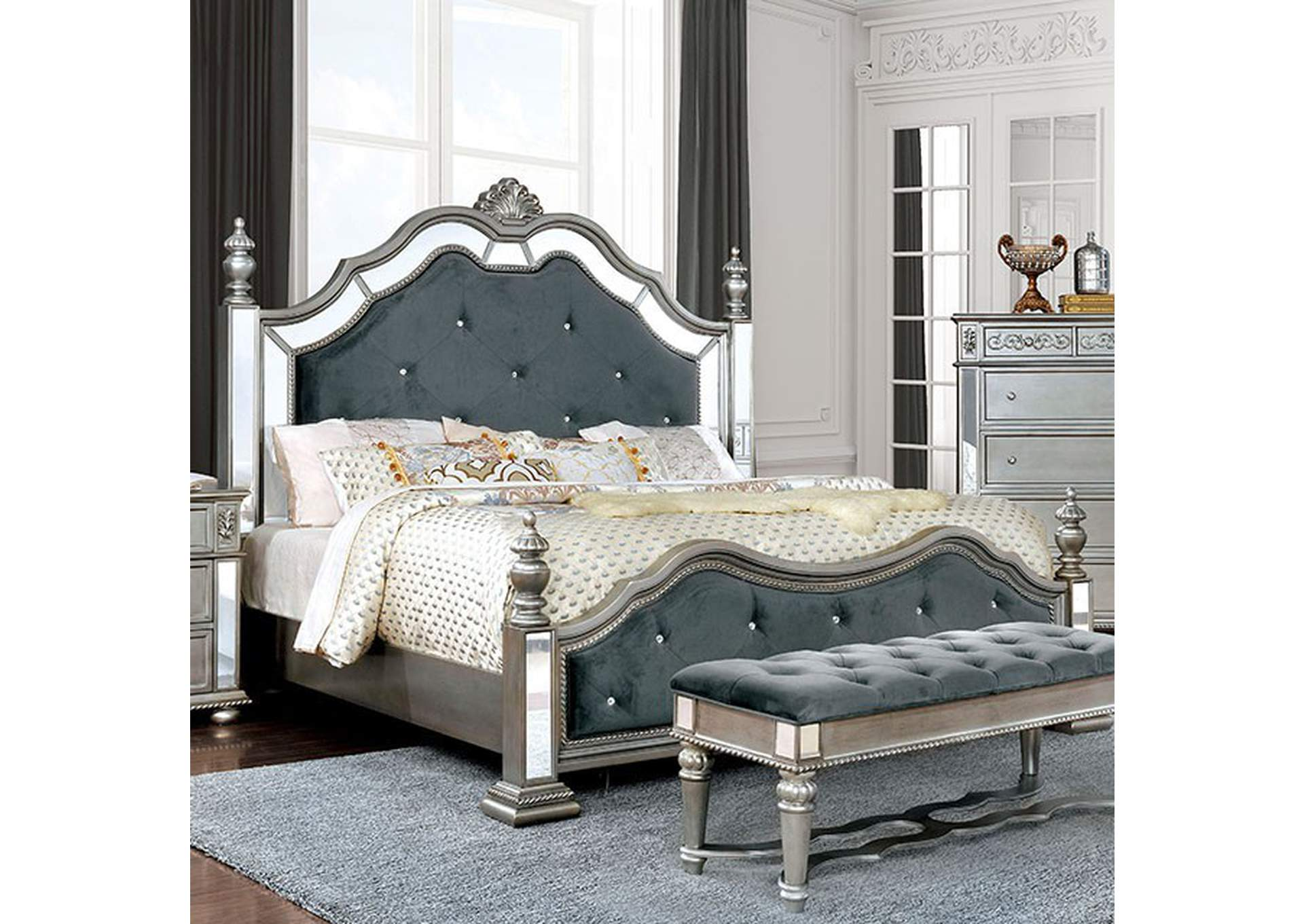 Azha Silver/Gray Upholstered Queen Low Poster Bed,Furniture of America