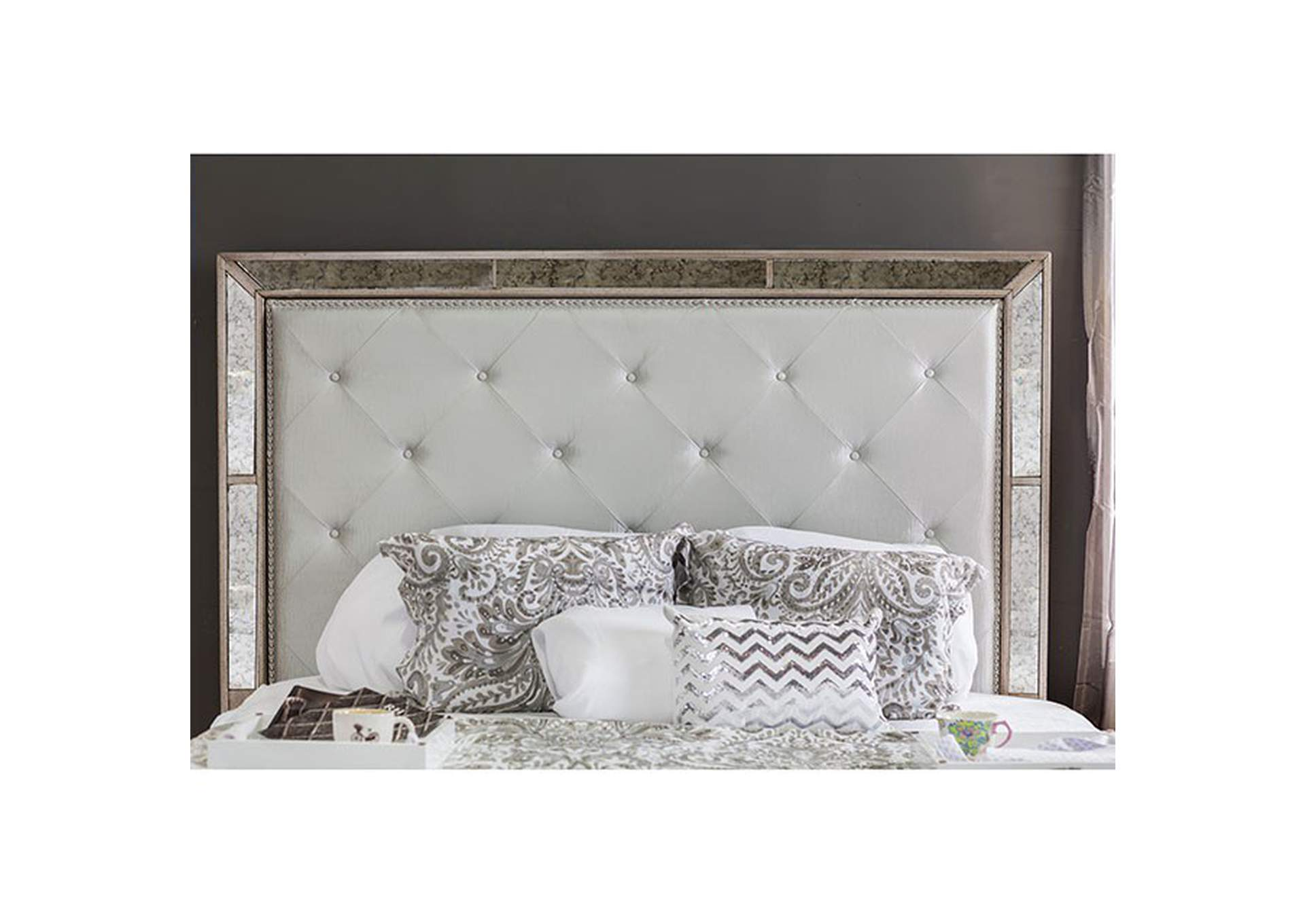 Loraine Silver Upholstered Queen Platform Bed w/Antique Mirror Panels,Furniture of America
