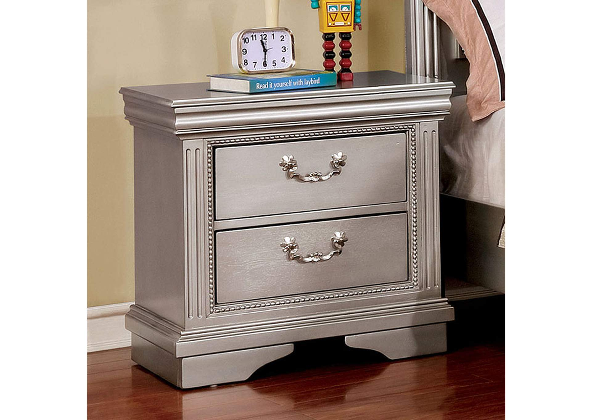 Claudia Silver Night Stand,Furniture of America