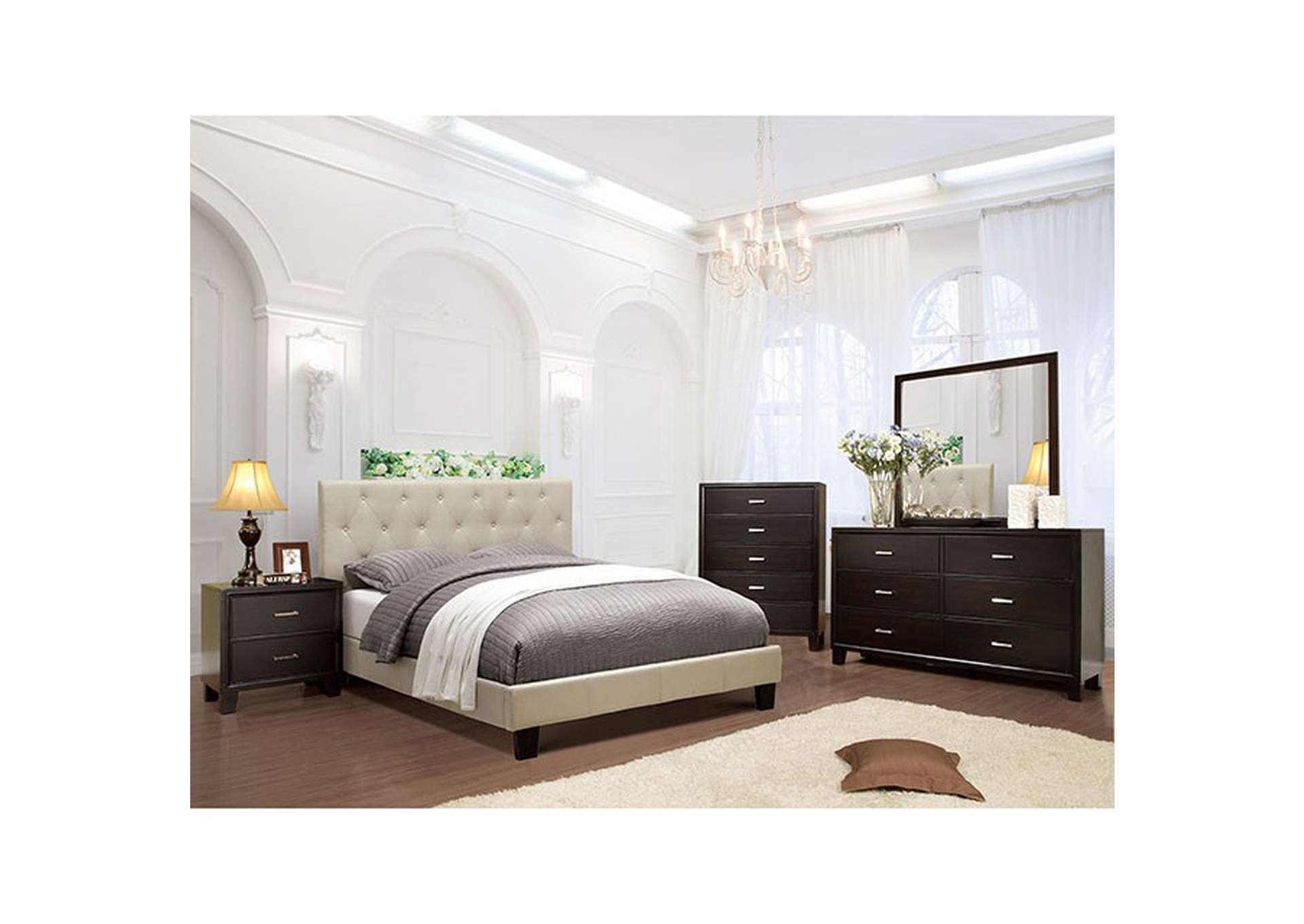 Leeroy Ivory Queen Bed,Furniture of America