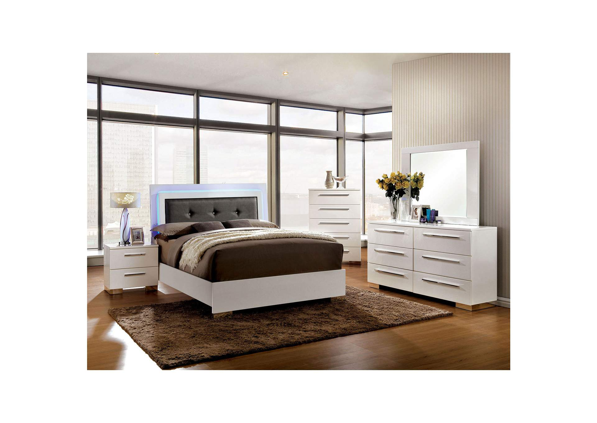Clementine White Lacquer Queen Platform Bed w/LED Lights,Furniture of America