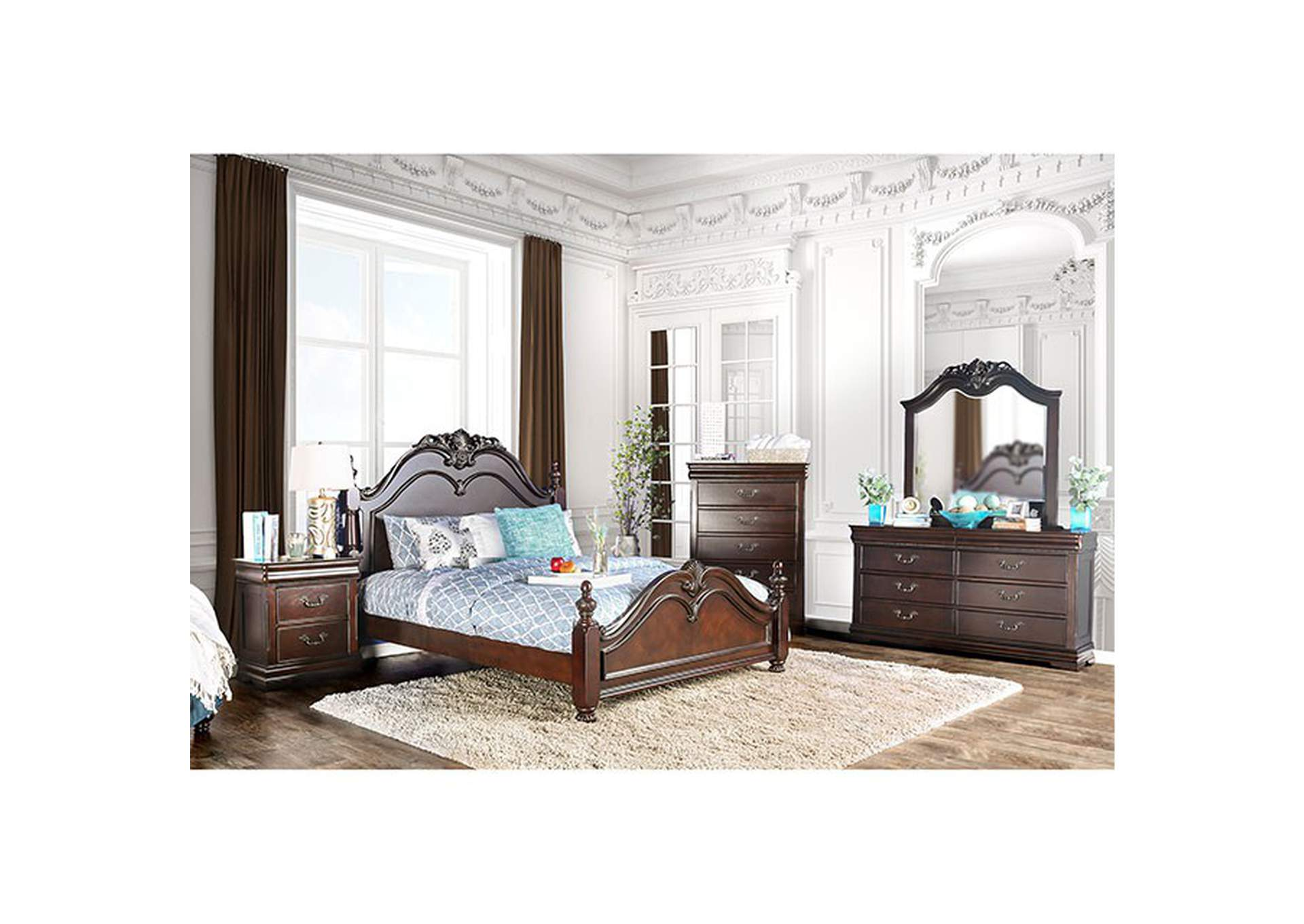 Mandura Cherry Queen Poster Platform Bed,Furniture of America