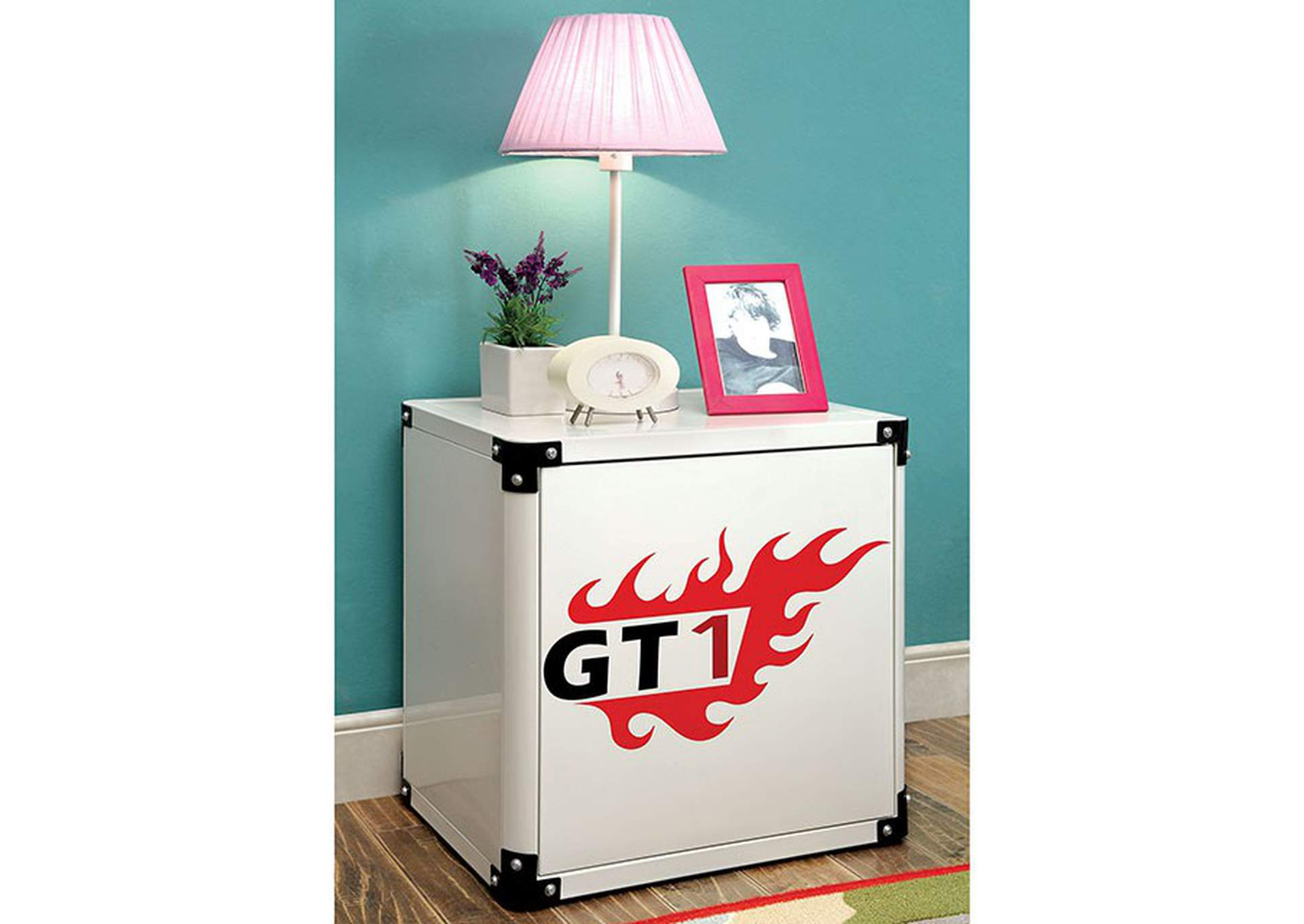 Power Racer White Metal Nightstand,Furniture of America