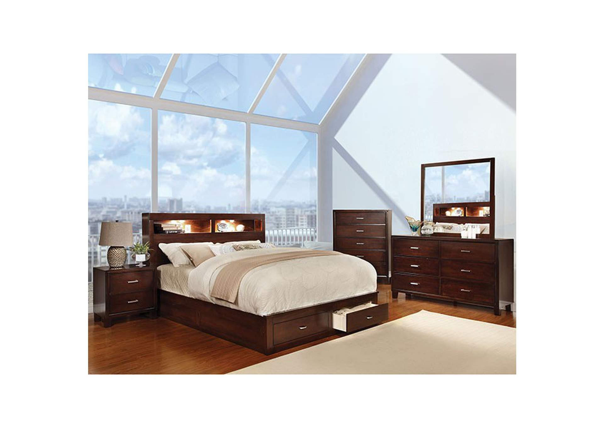 Gerico II Brown Queen Platform Storage Bed,Furniture of America