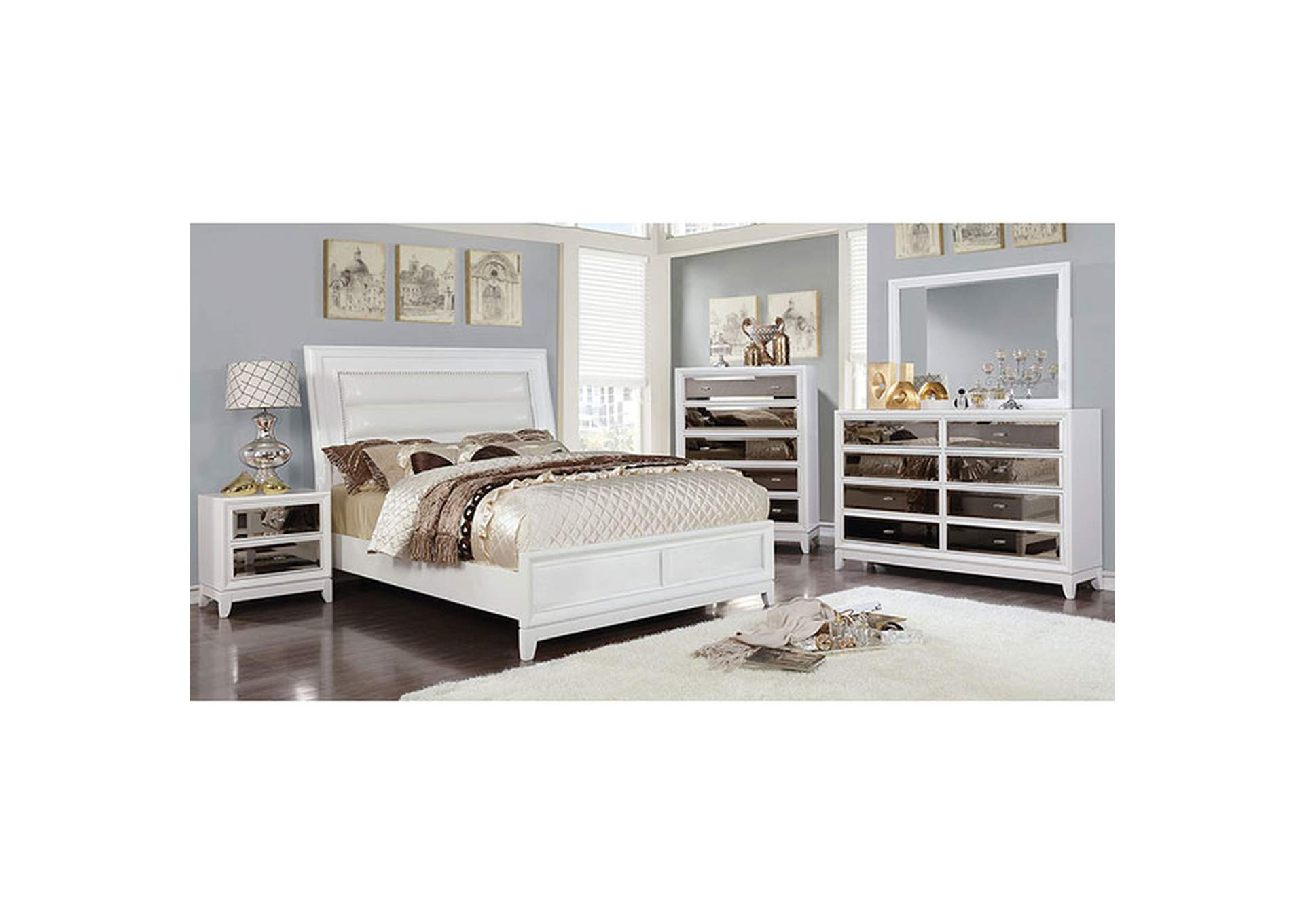 Golva White Upholstered Eastern King Panel Bed,Furniture of America