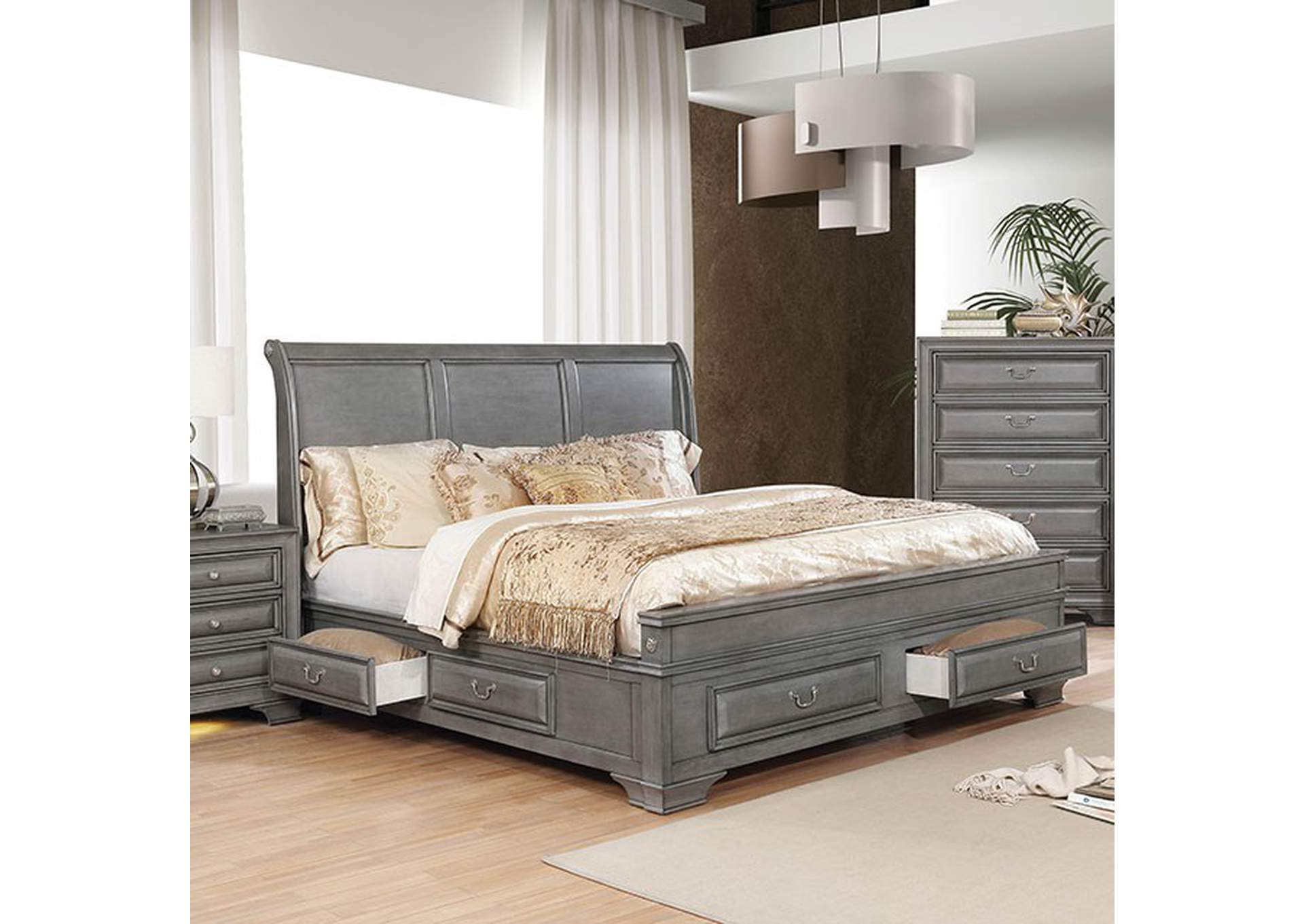 Brandt Gray Queen Bed,Furniture of America