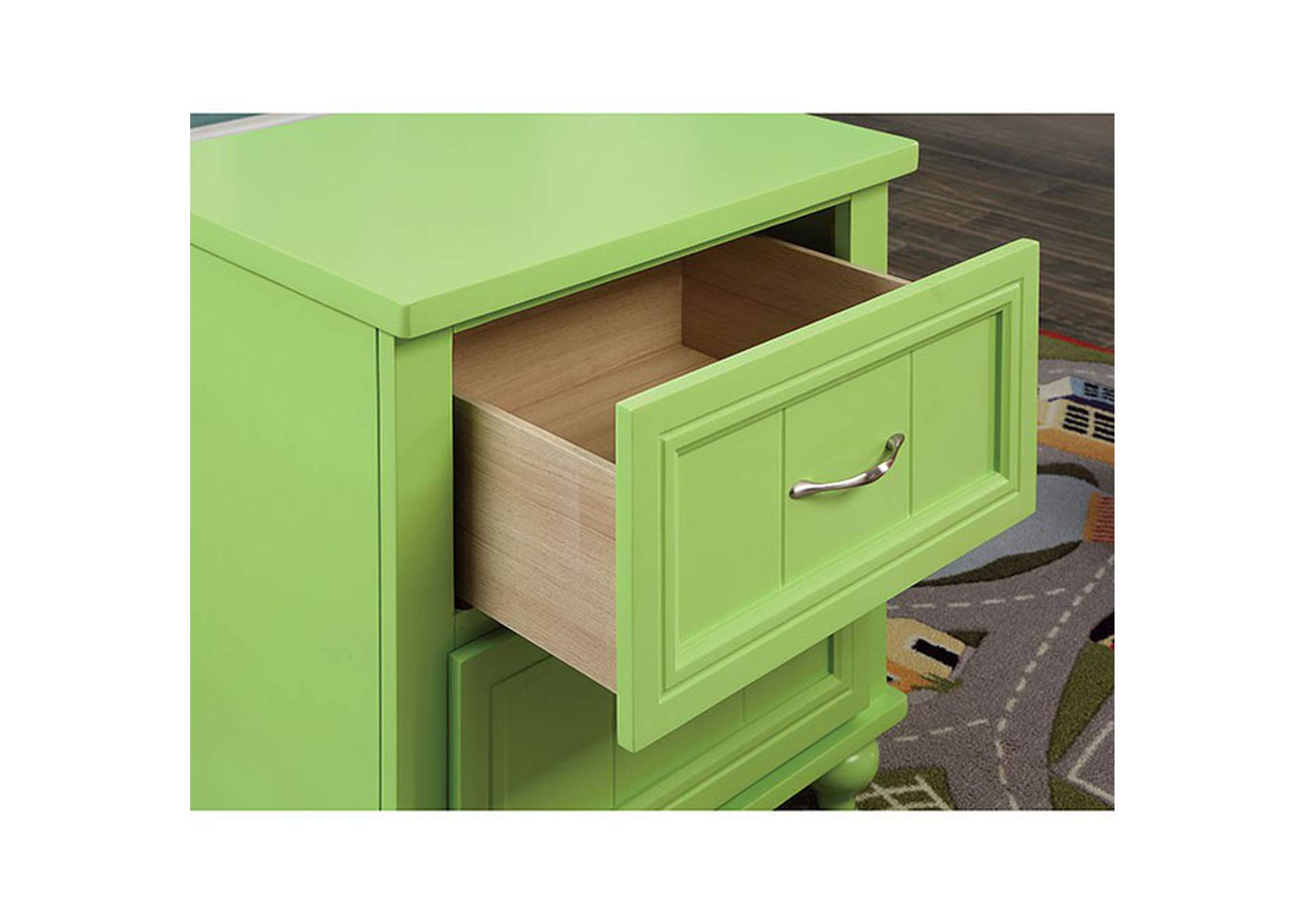 Lacey Apple Green 2 Drawer Nightstand,Furniture of America
