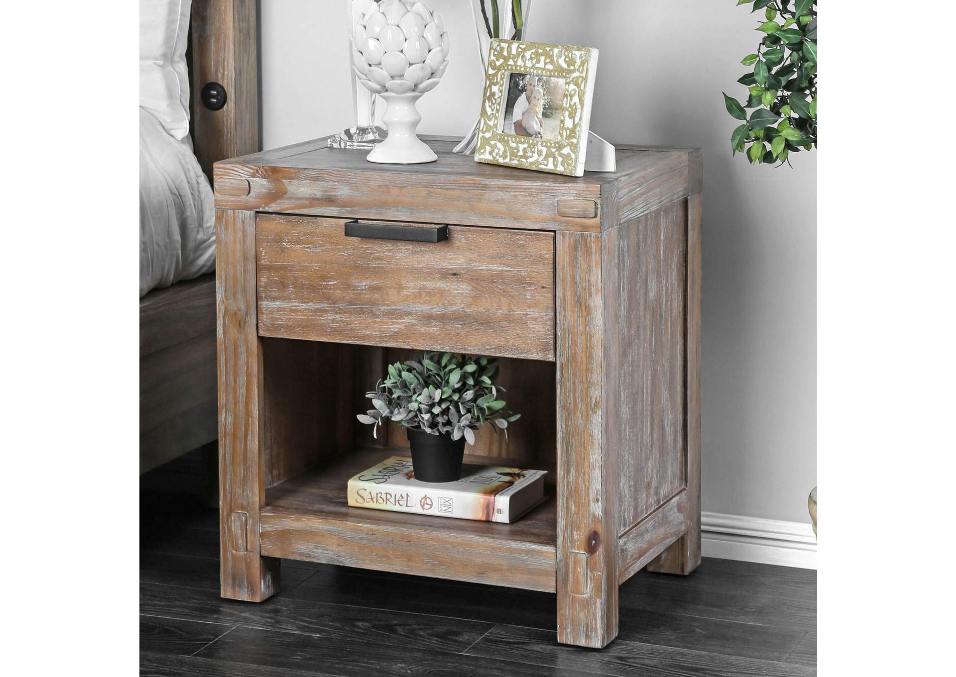 Wynton Weathered Light Oak Night Stand,Furniture of America